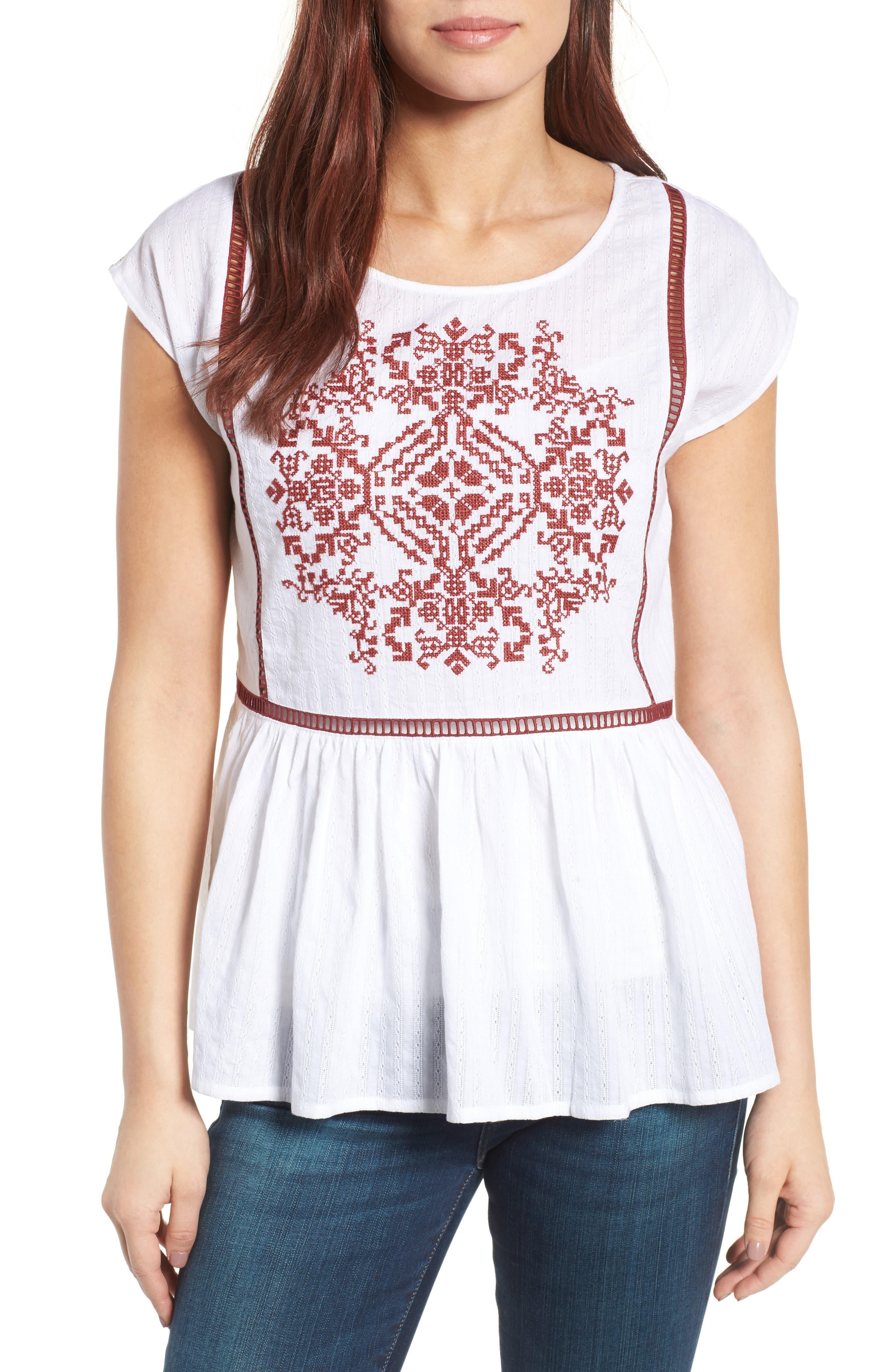 Main Image - Caslon® Embroidered Cotton Top (Regular & Petite)