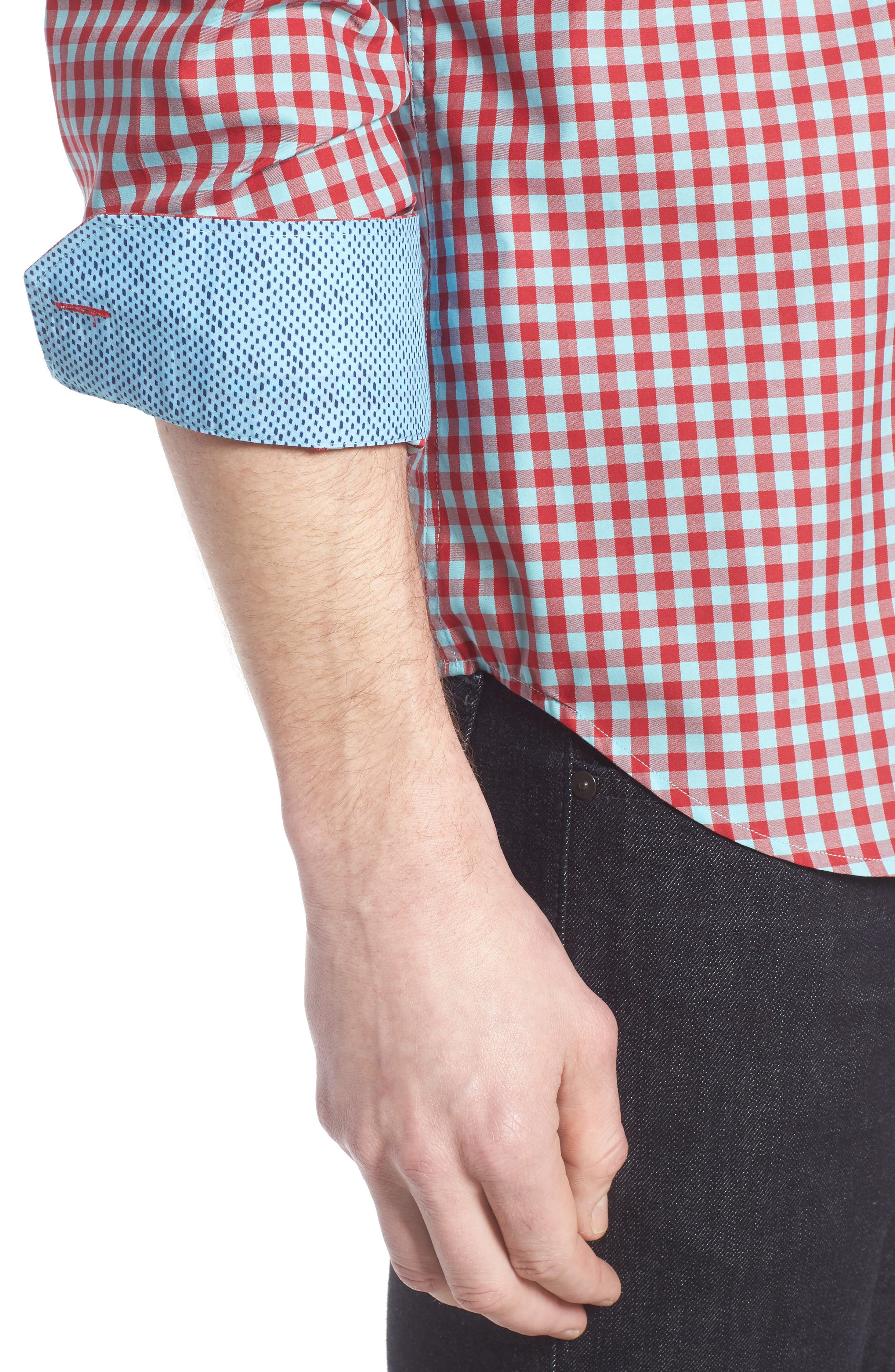 Shaped Fit Gingham Sport Shirt,                             Alternate thumbnail 4, color,                             Ruby