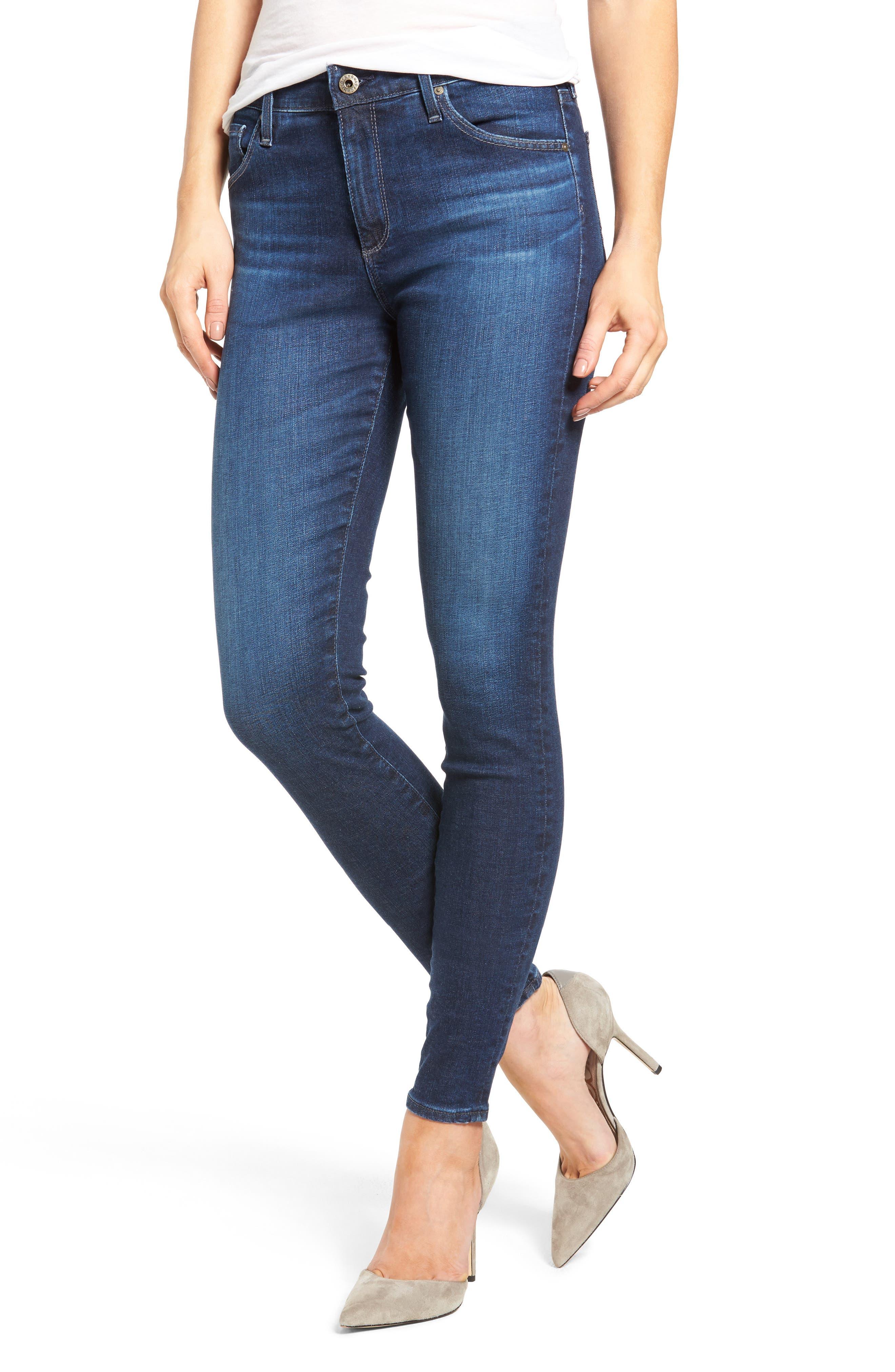 'The Farrah' High Rise Skinny Jeans,                         Main,                         color, Paradox Blue