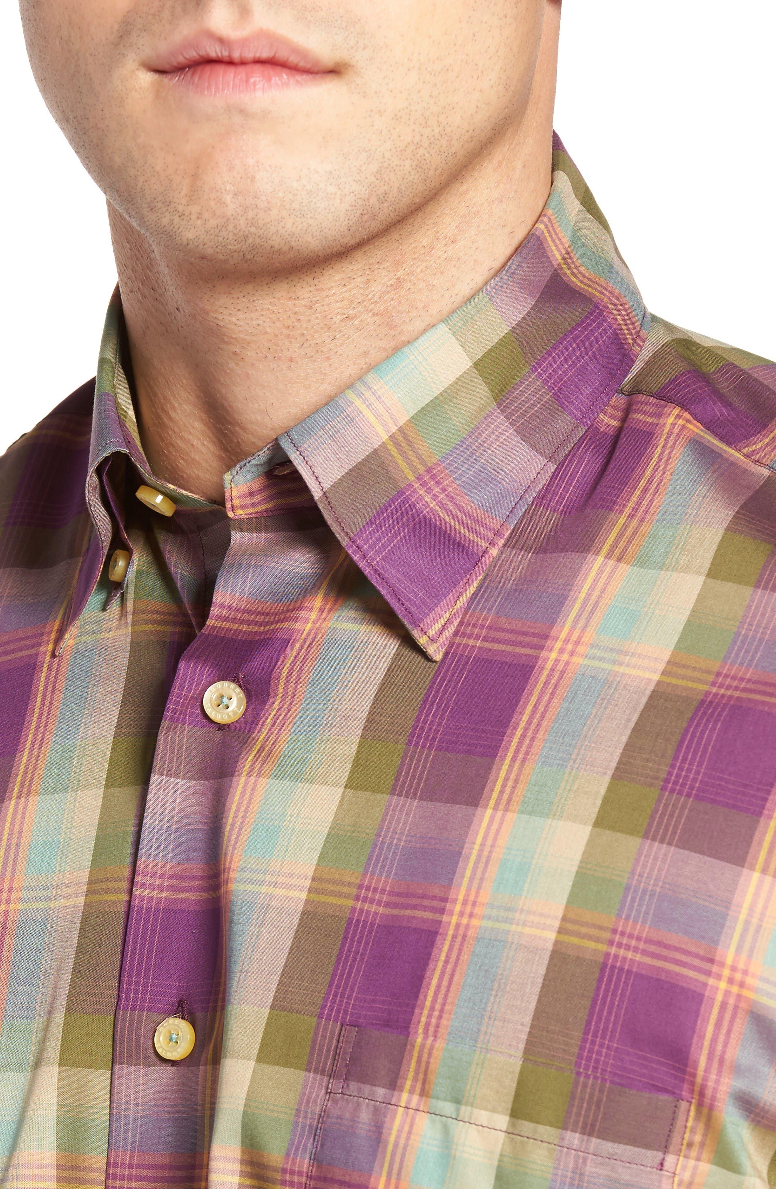 Anderson Classic Fit Plaid Sport Shirt,                             Alternate thumbnail 4, color,                             Port