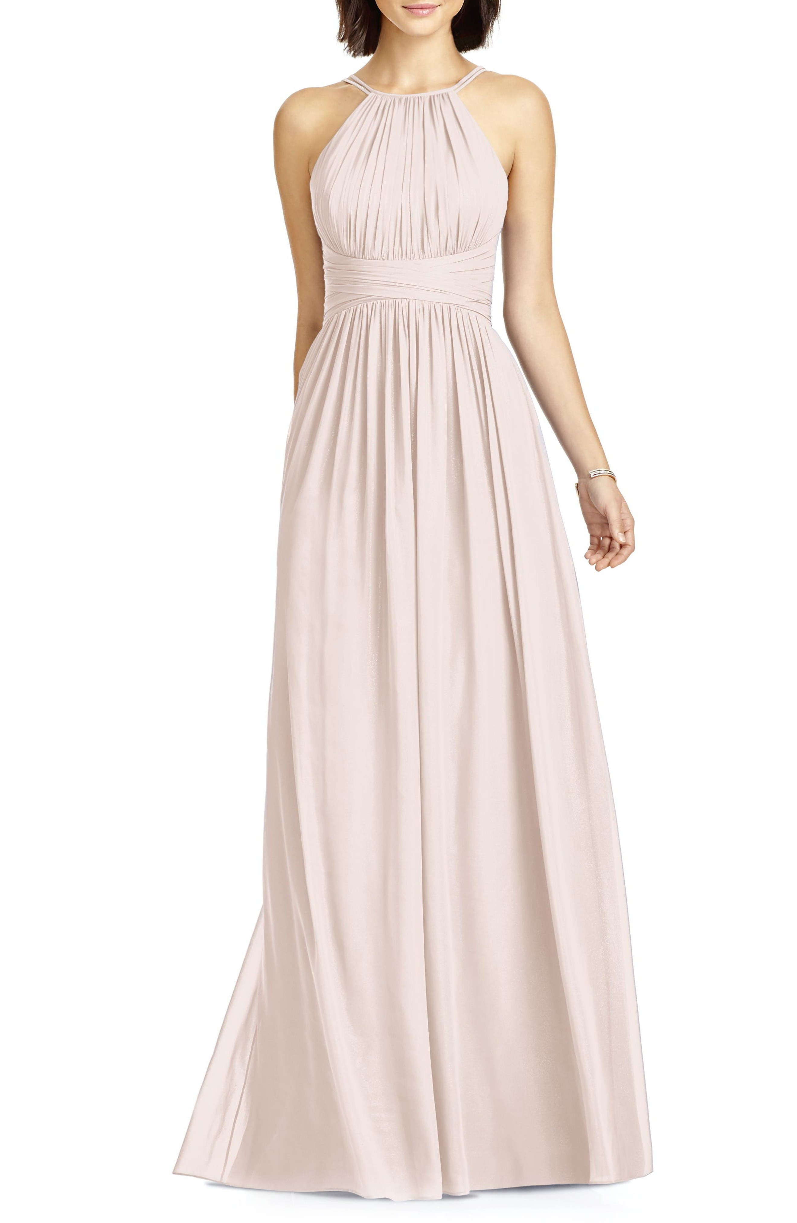 Dessy Collection Lux Chiffon Halter Gown
