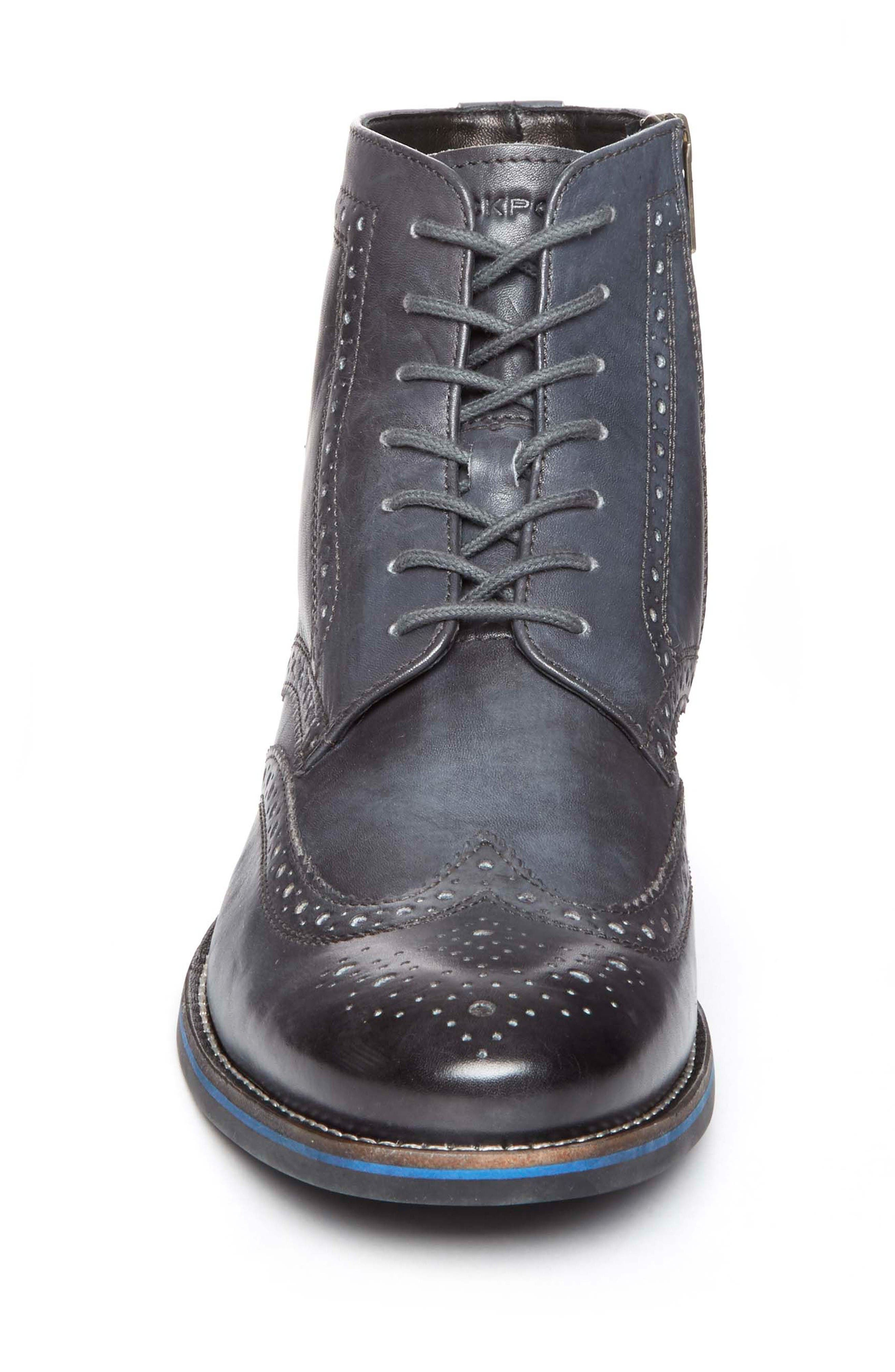 Wyat Wingtip Boot,                             Alternate thumbnail 4, color,                             Dark Shadow Leather