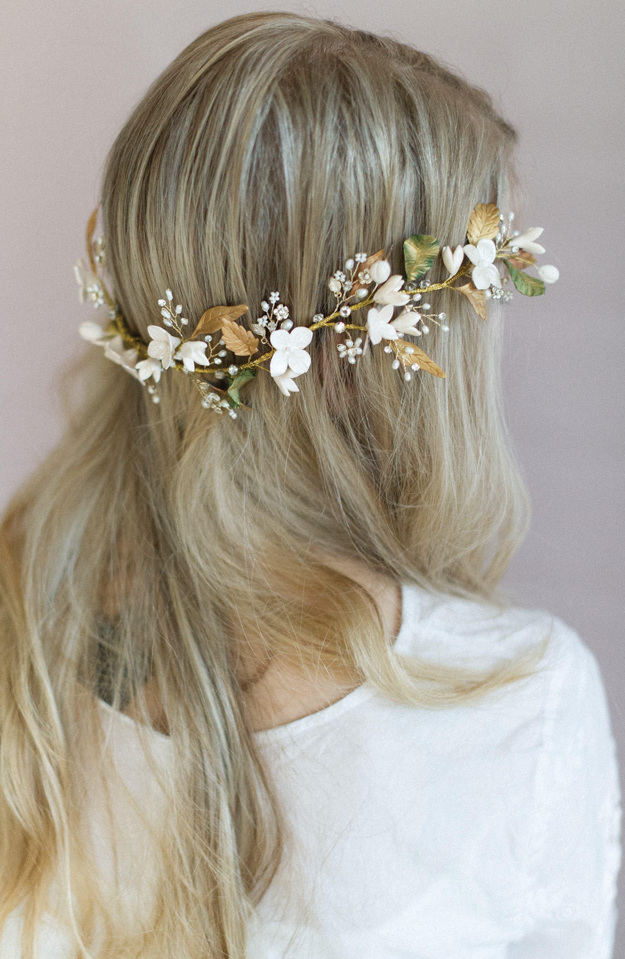 Floral Garden Headpiece,                         Main,                         color, Ivory/Gold