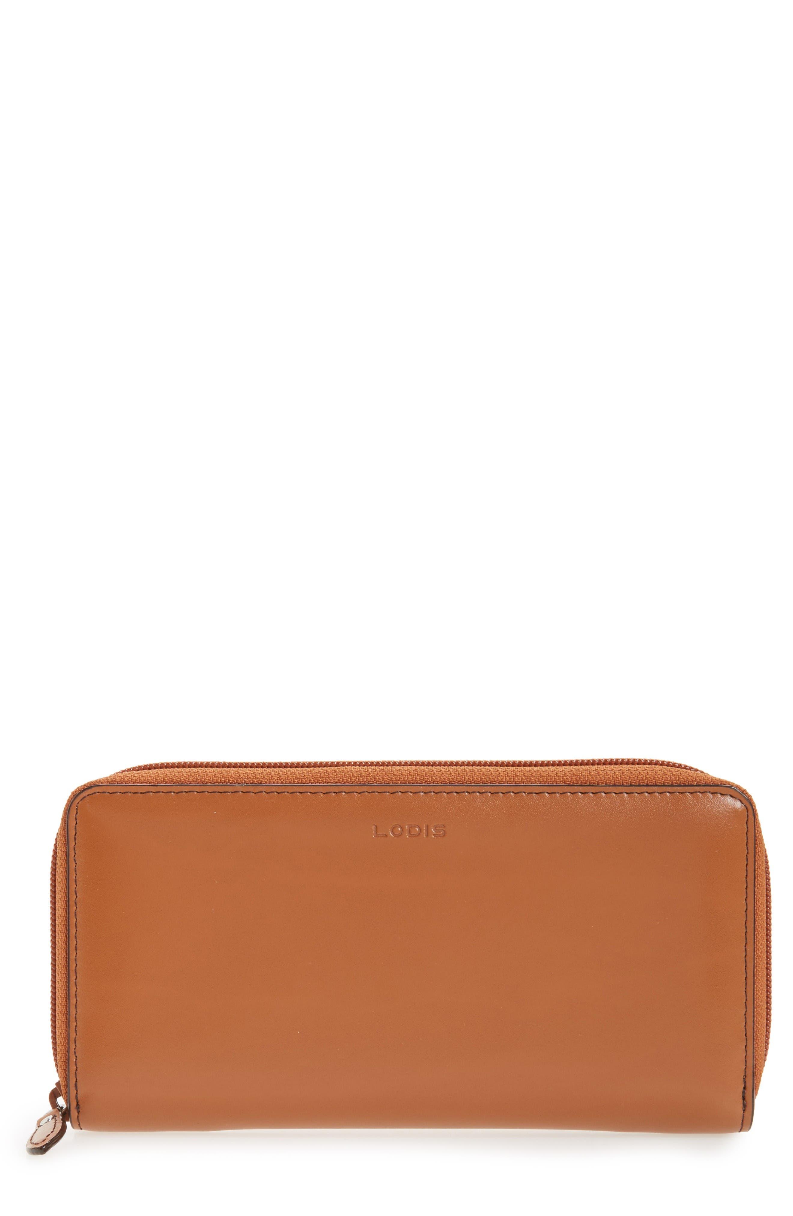 Lodis Ada RFID Zip Around Wallet,                         Main,                         color, Toffee