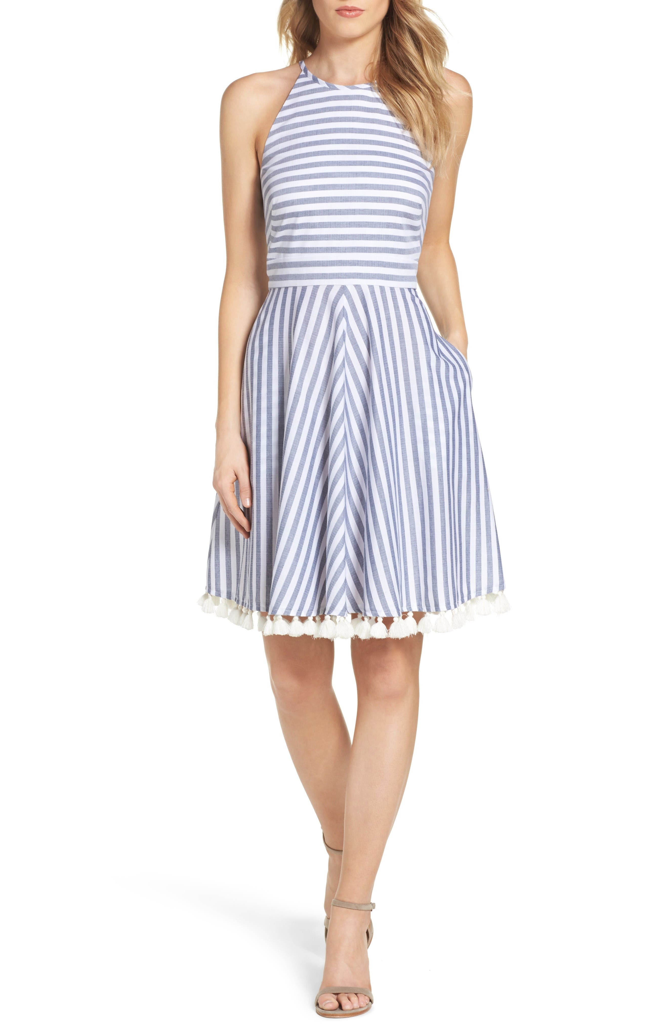 Stripe Fit & Flare Dress,                             Main thumbnail 1, color,                             Navy/ Ivory