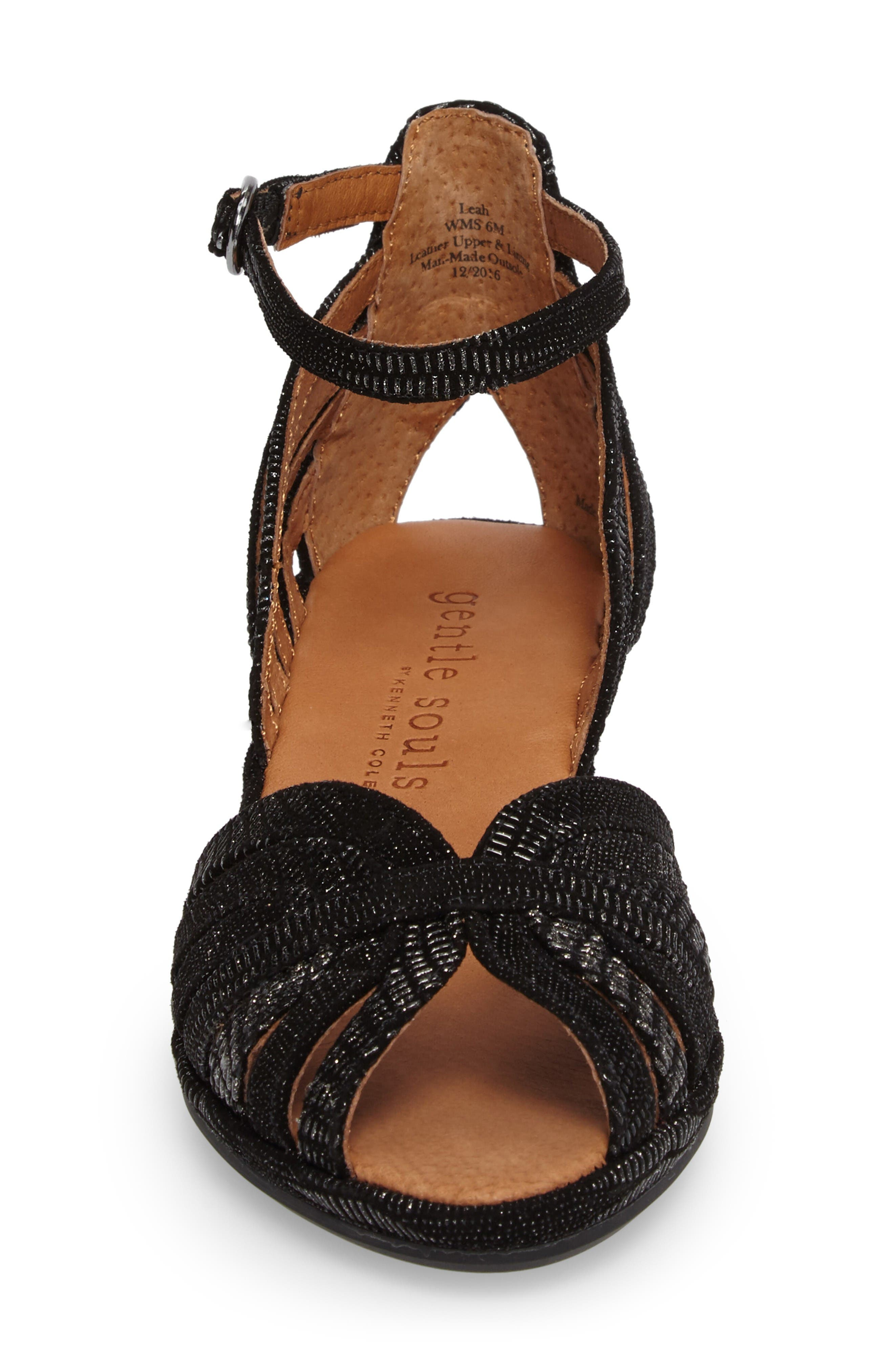 by Kenneth Cole 'Leah' Peep Toe Wedge Sandal,                             Alternate thumbnail 4, color,                             Black/ Black Leather