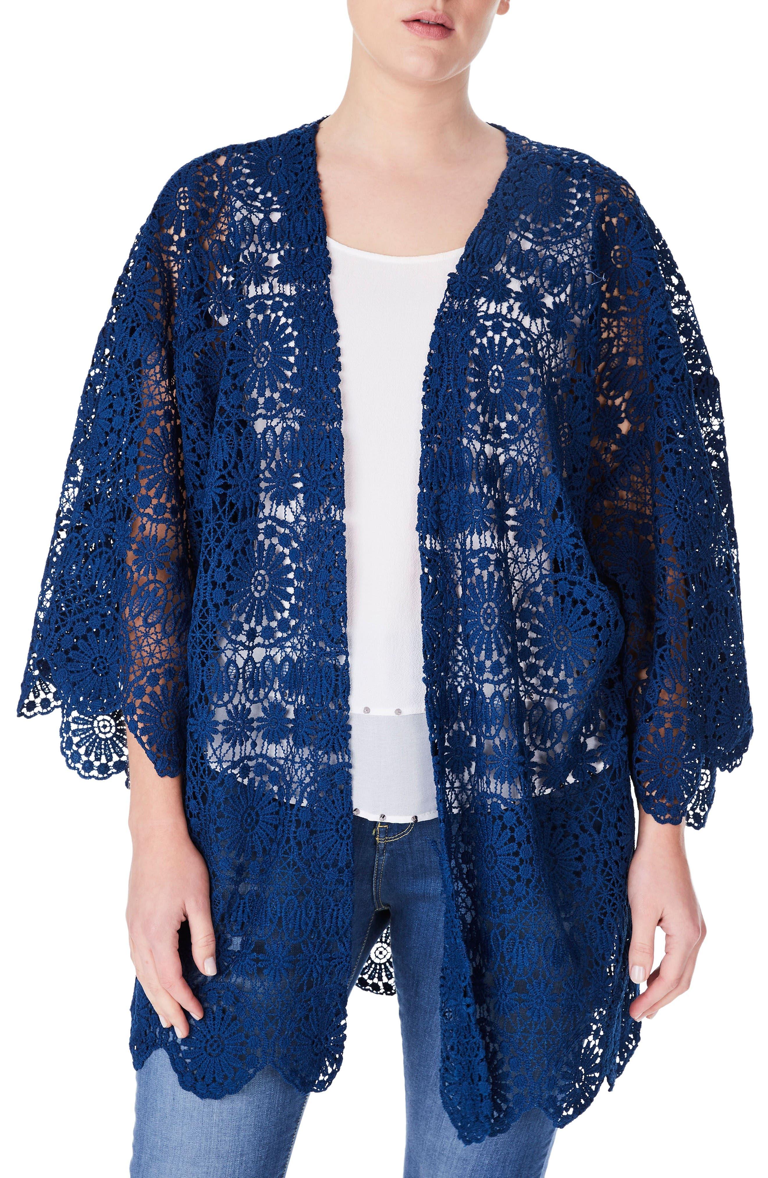 Alternate Image 1 Selected - ELVI Lace Kimono (Plus Size)