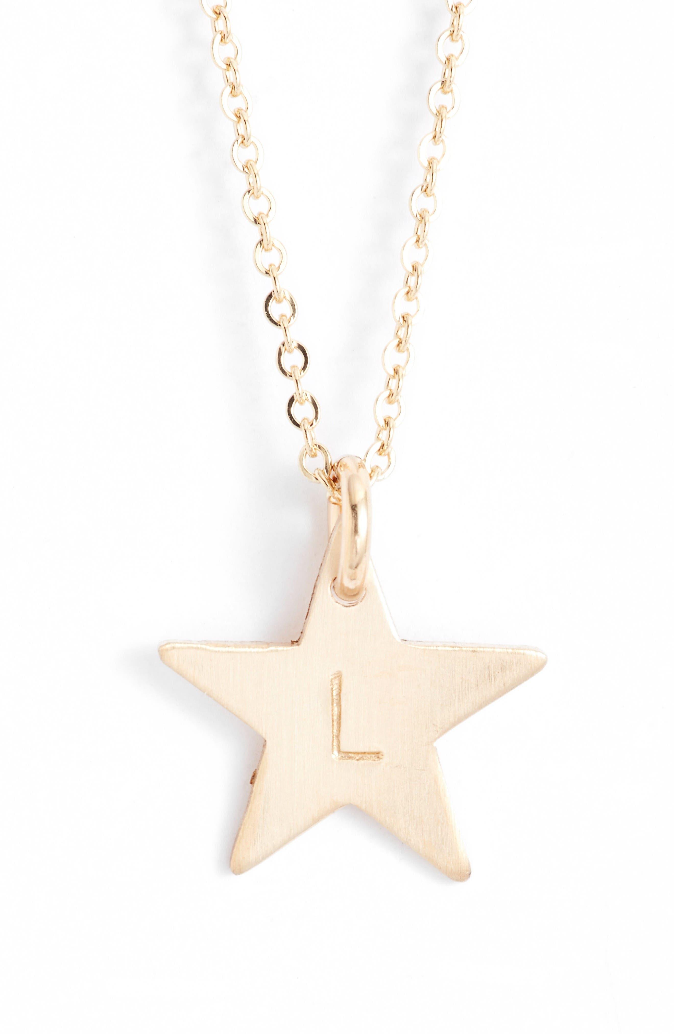 14k-Gold Fill Initial Mini Star Pendant Necklace,                         Main,                         color, Gold/ L