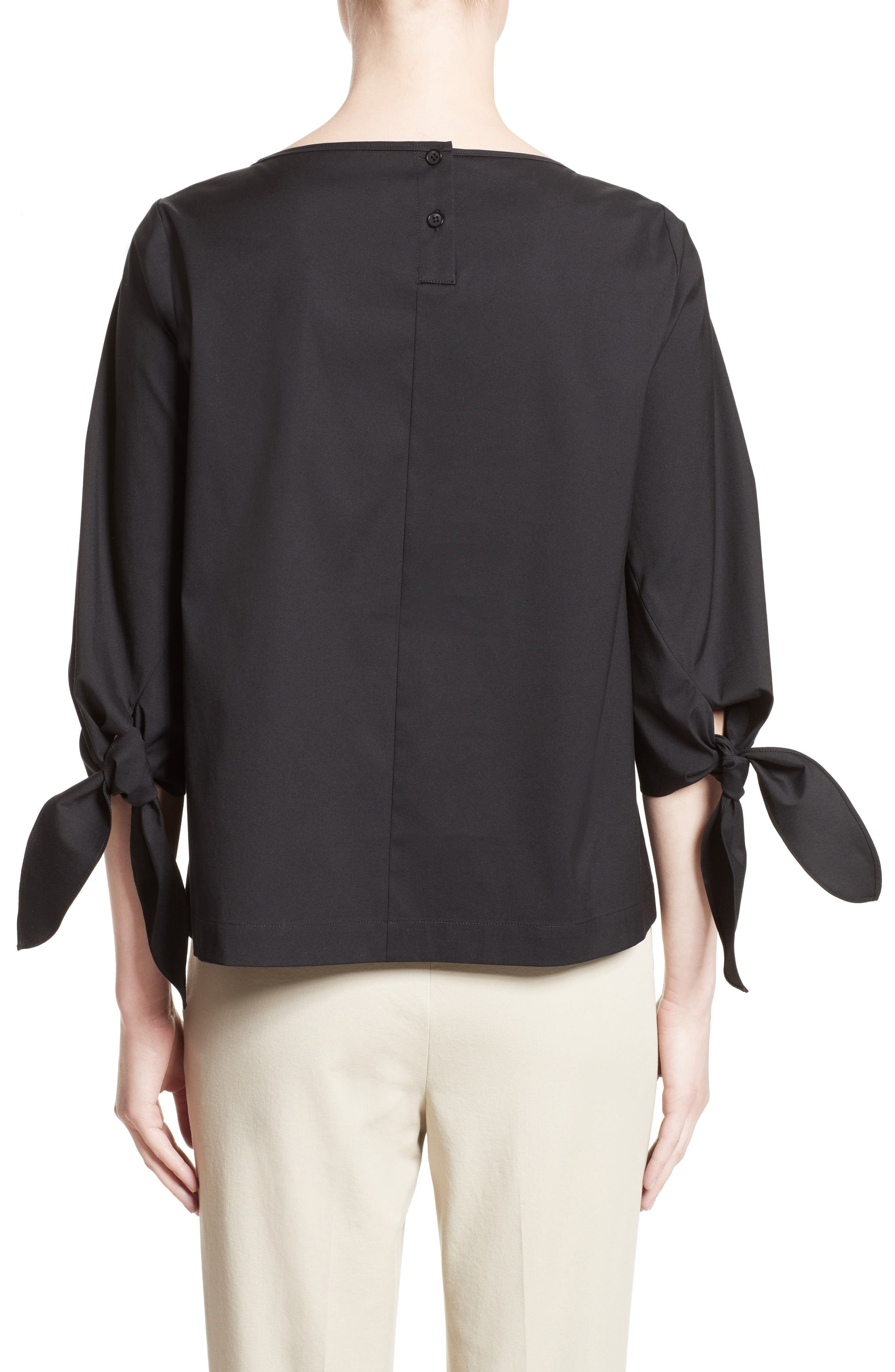 Elaina Stretch Cotton Blouse,                             Alternate thumbnail 2, color,                             Black