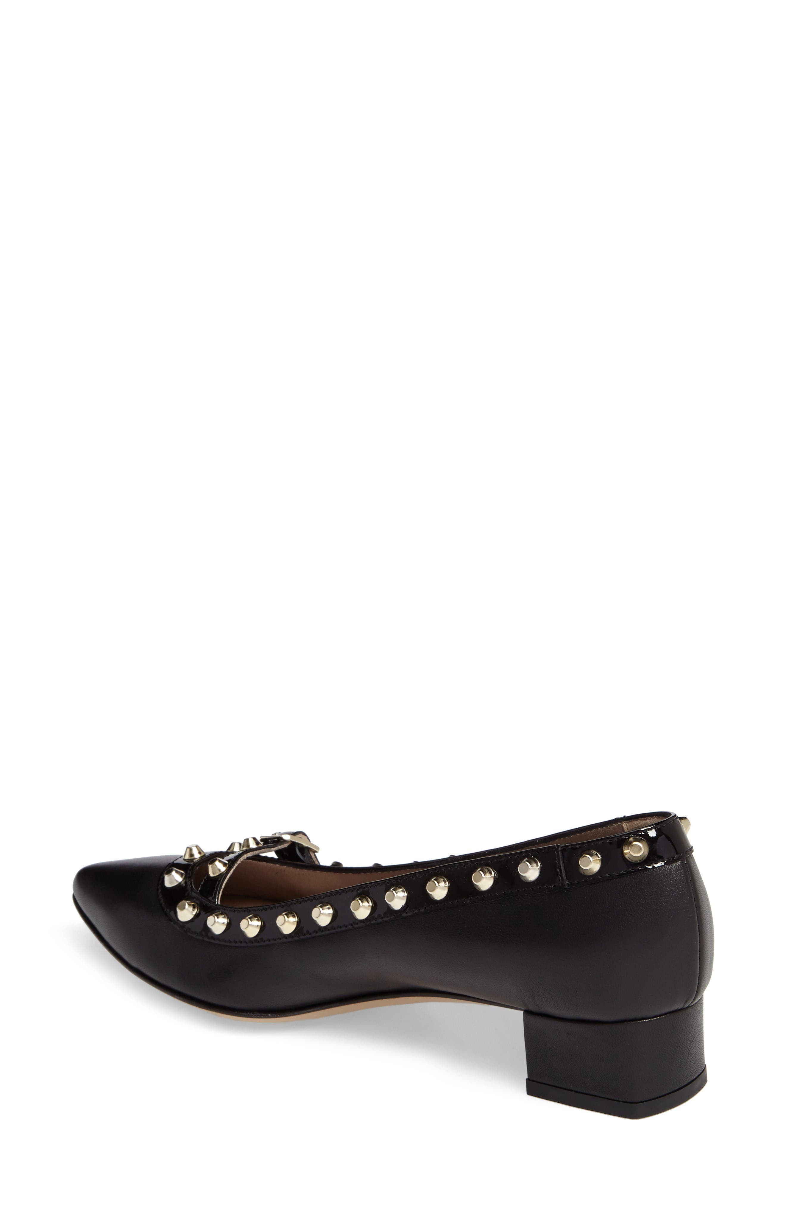 Studded Mary Jane Pump,                             Alternate thumbnail 2, color,                             Black Leather