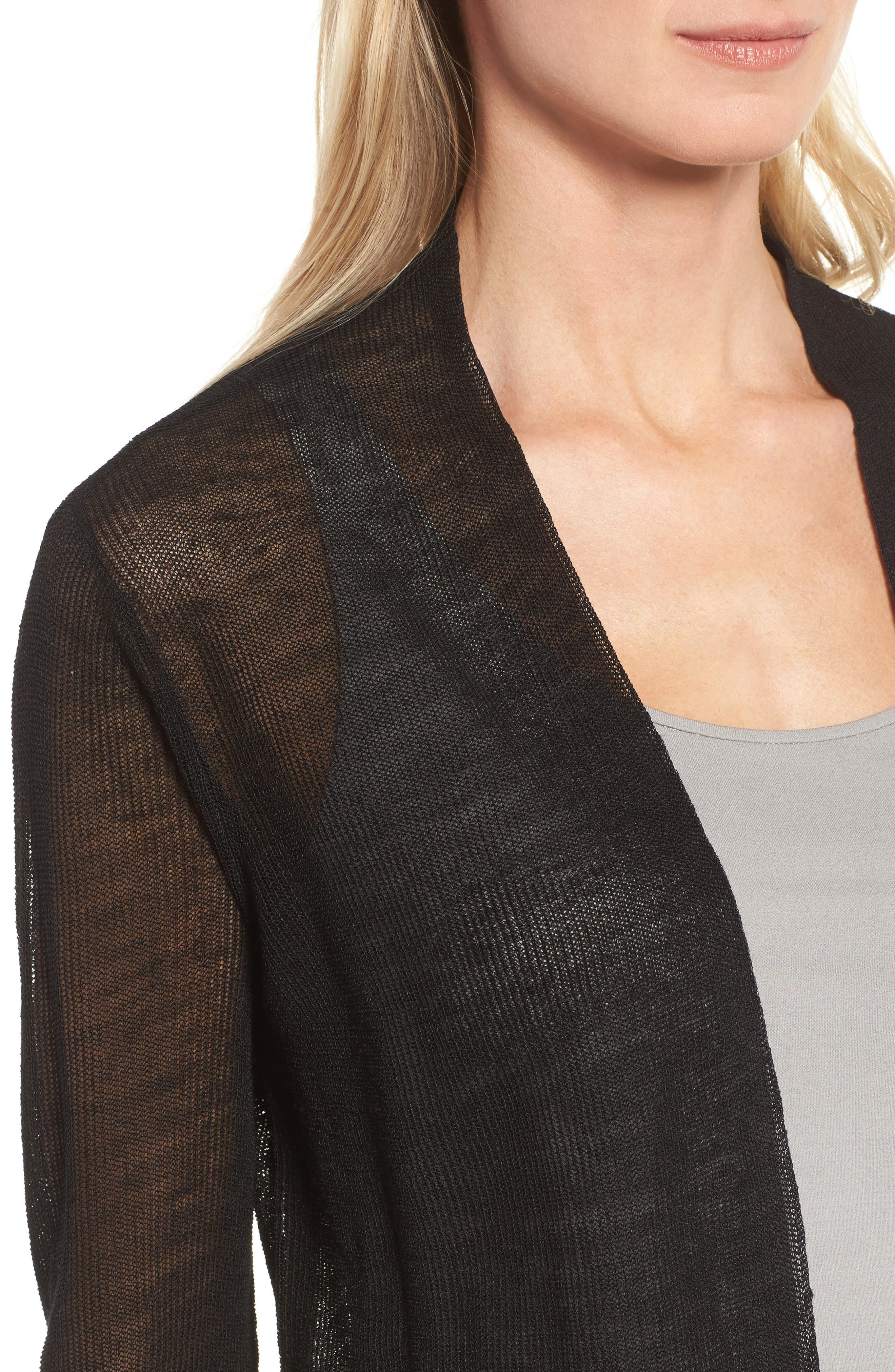 Organic Linen Blend Crop Cardigan,                             Alternate thumbnail 4, color,                             Black