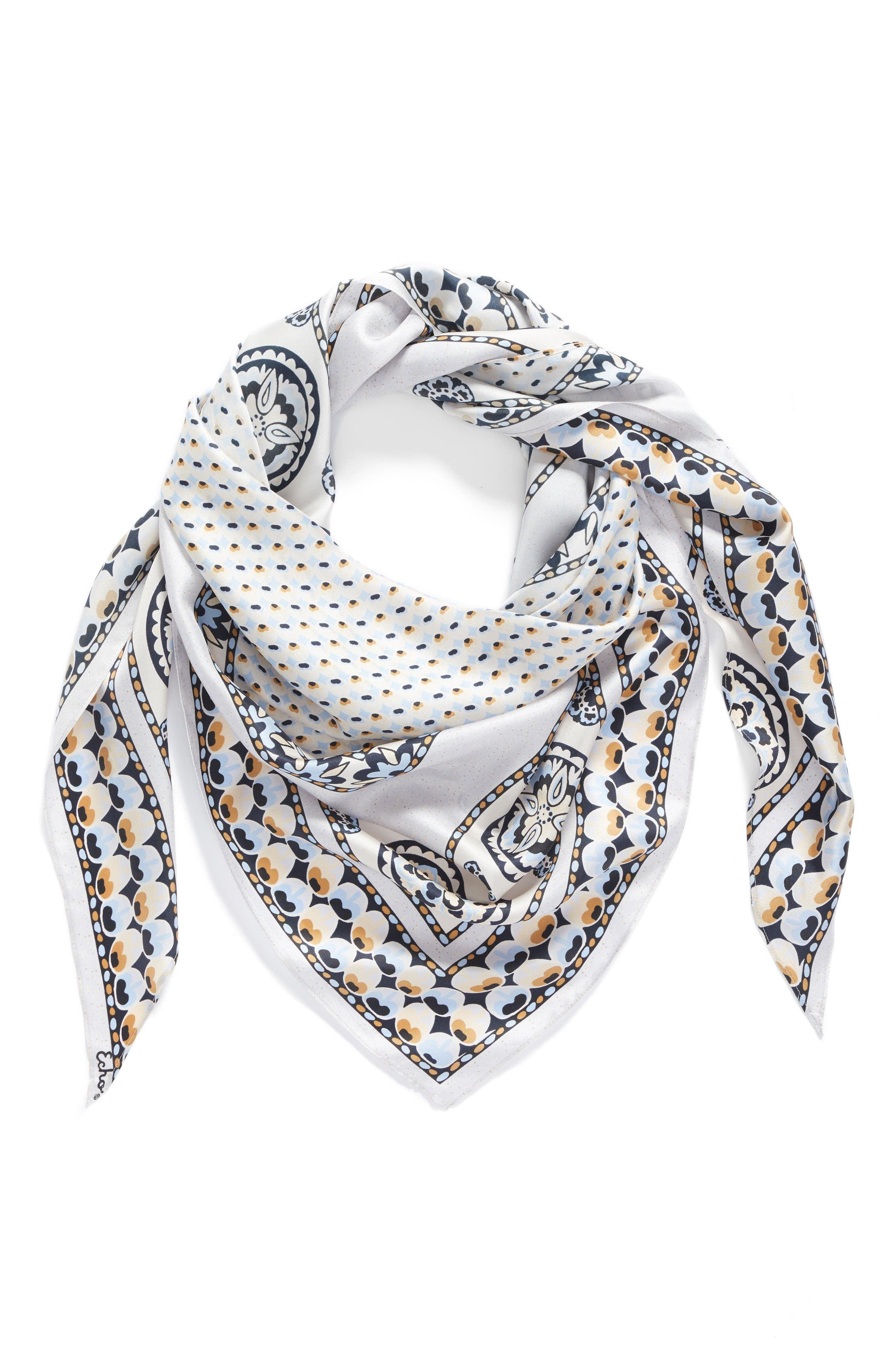 Echo Medallion Triangle Silk Scarf