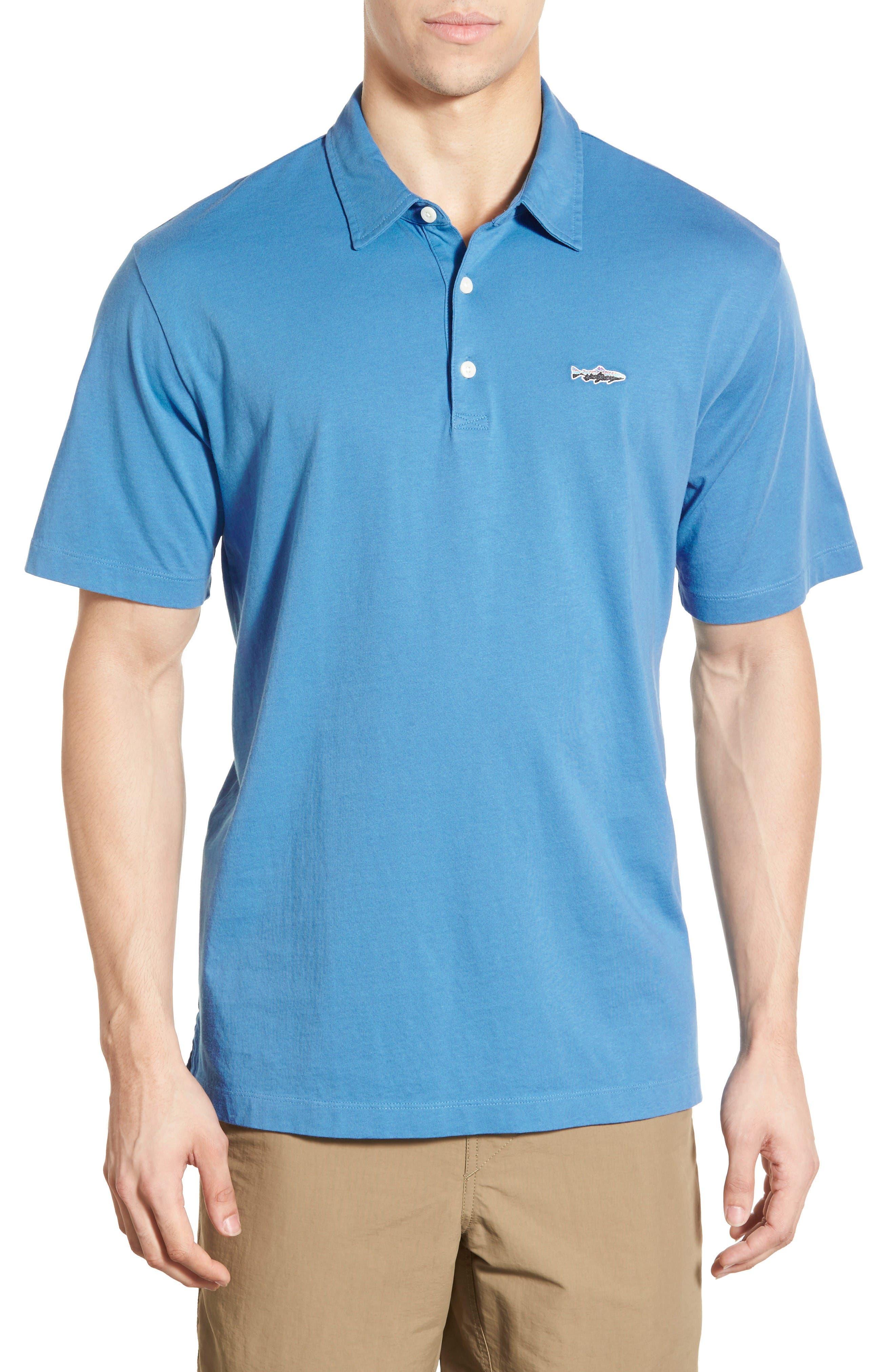 'Trout Fitz Roy' Organic Cotton Polo,                         Main,                         color, Radar Blue