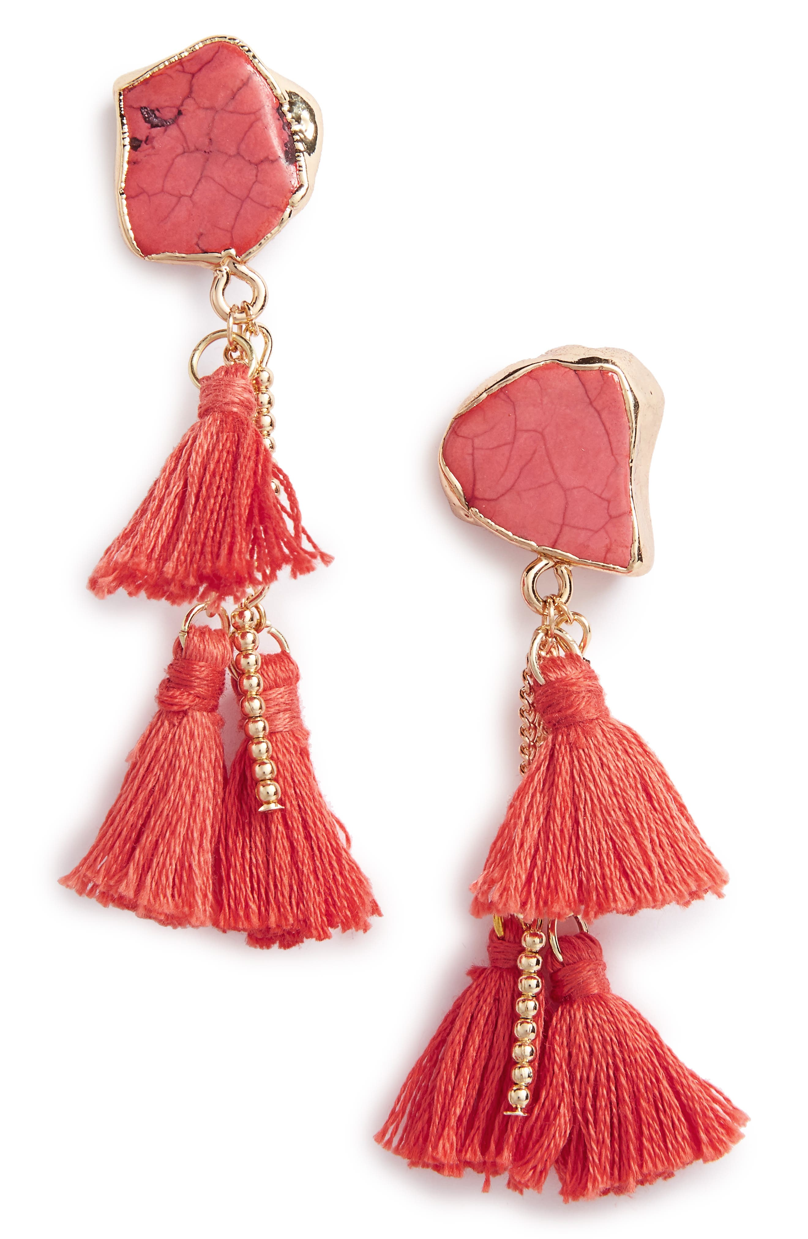 Main Image - Sole Society Stone Tassel Drop Earrings