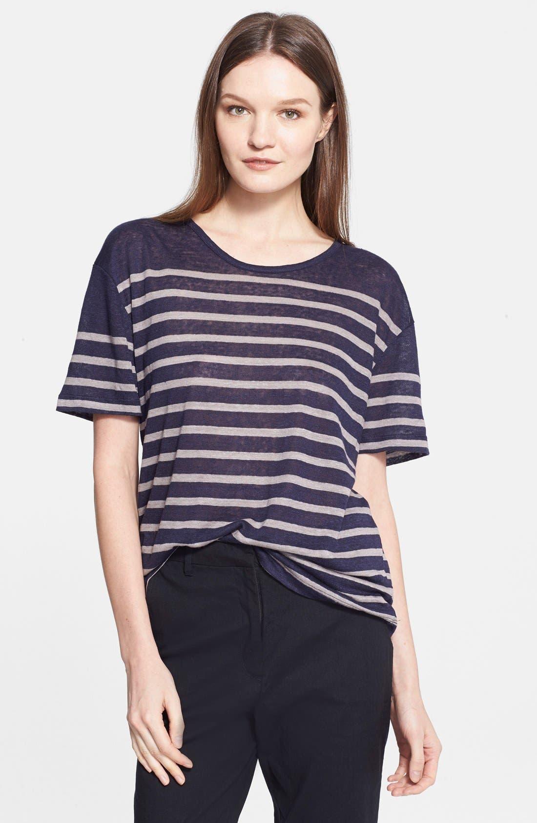 Main Image - Charlotte Gainsbourg for Current/Elliott 'The Short Sleeve Linen Stripe' Tee