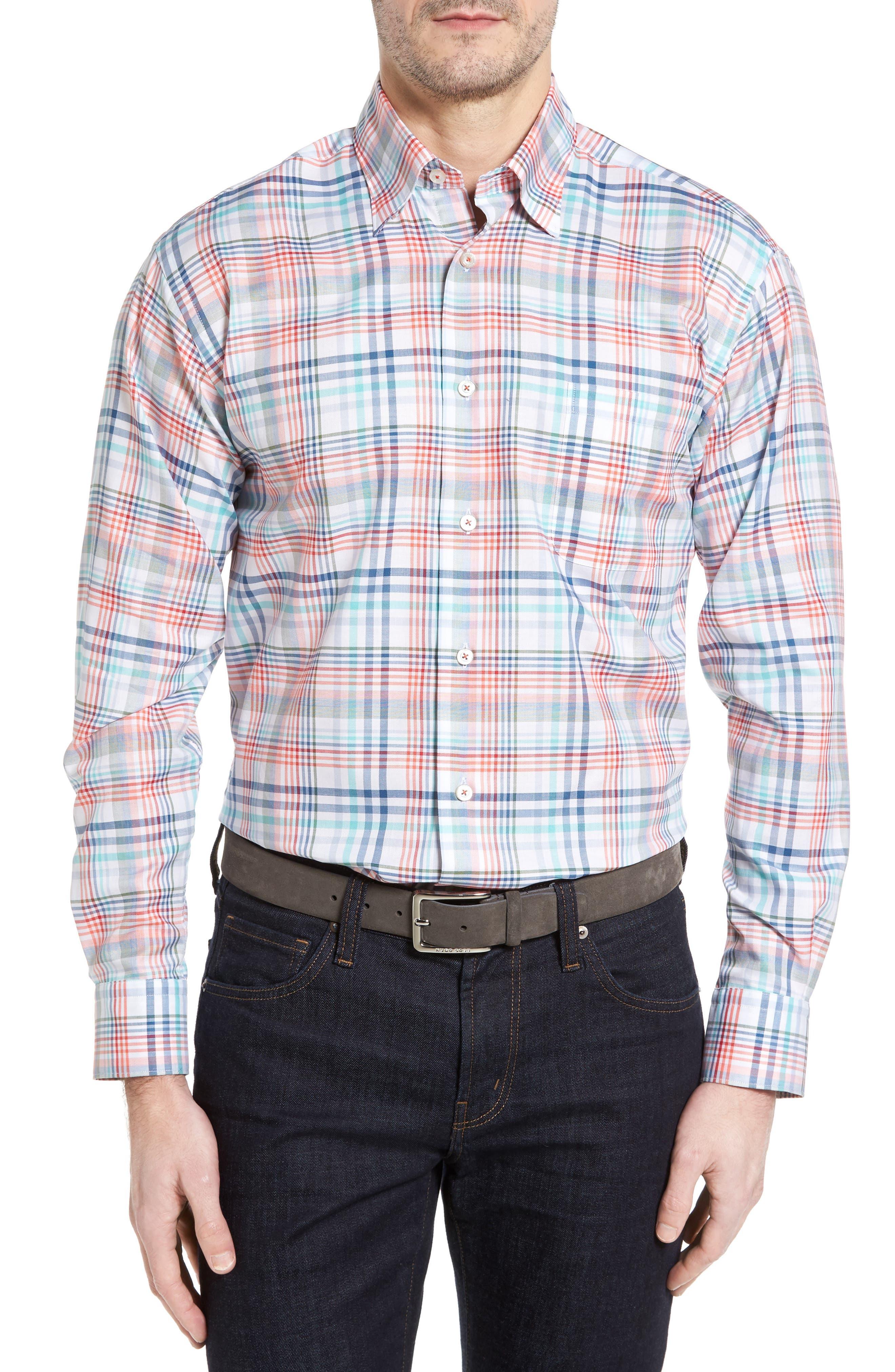 Anderson Classic Fit Plaid Twill Sport Shirt,                         Main,                         color, Orange Multi