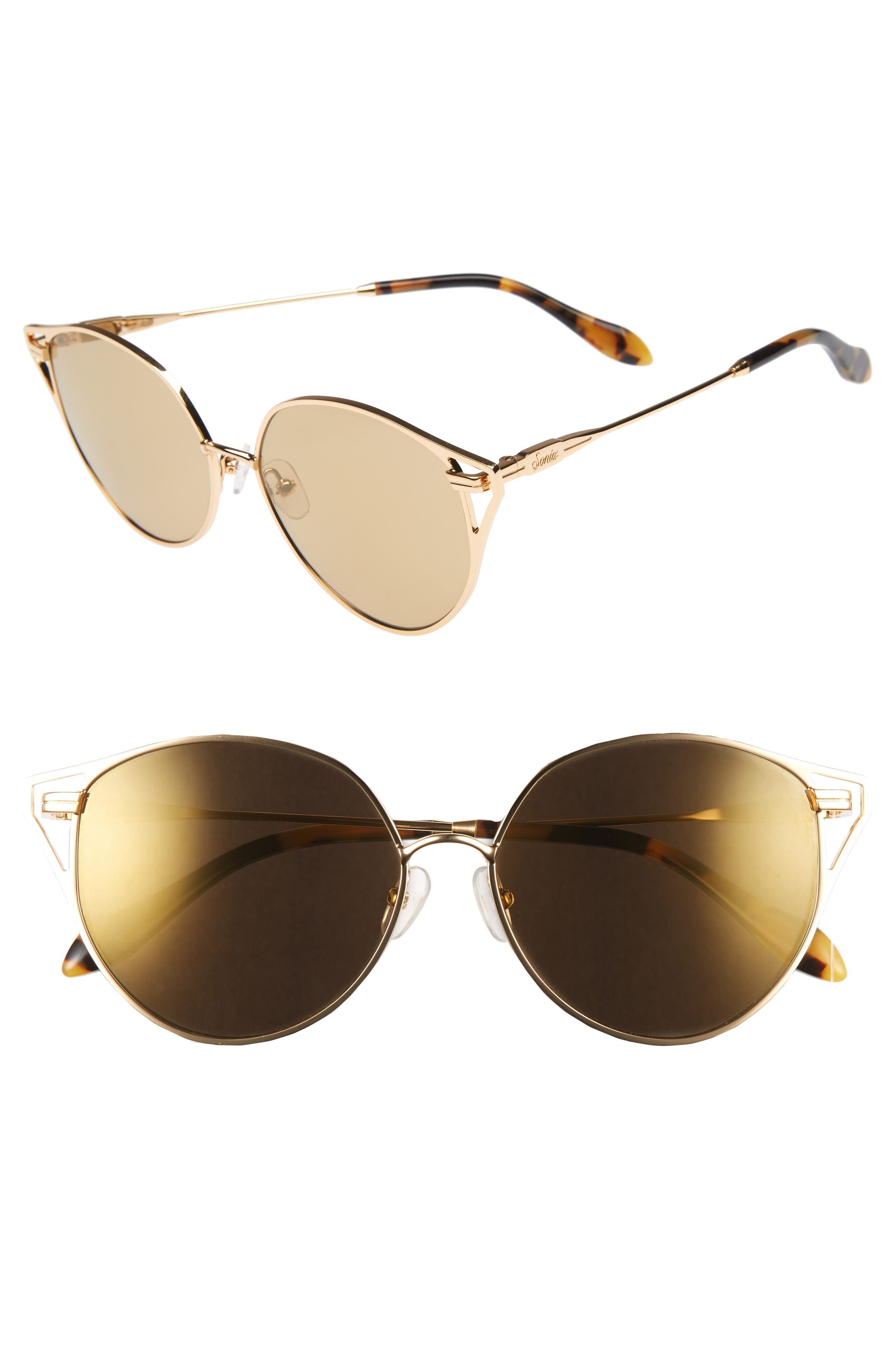 Ibiza 55mm Cat Eye Sunglasses,                         Main,                         color, Gold Wire/ Amber Mirror