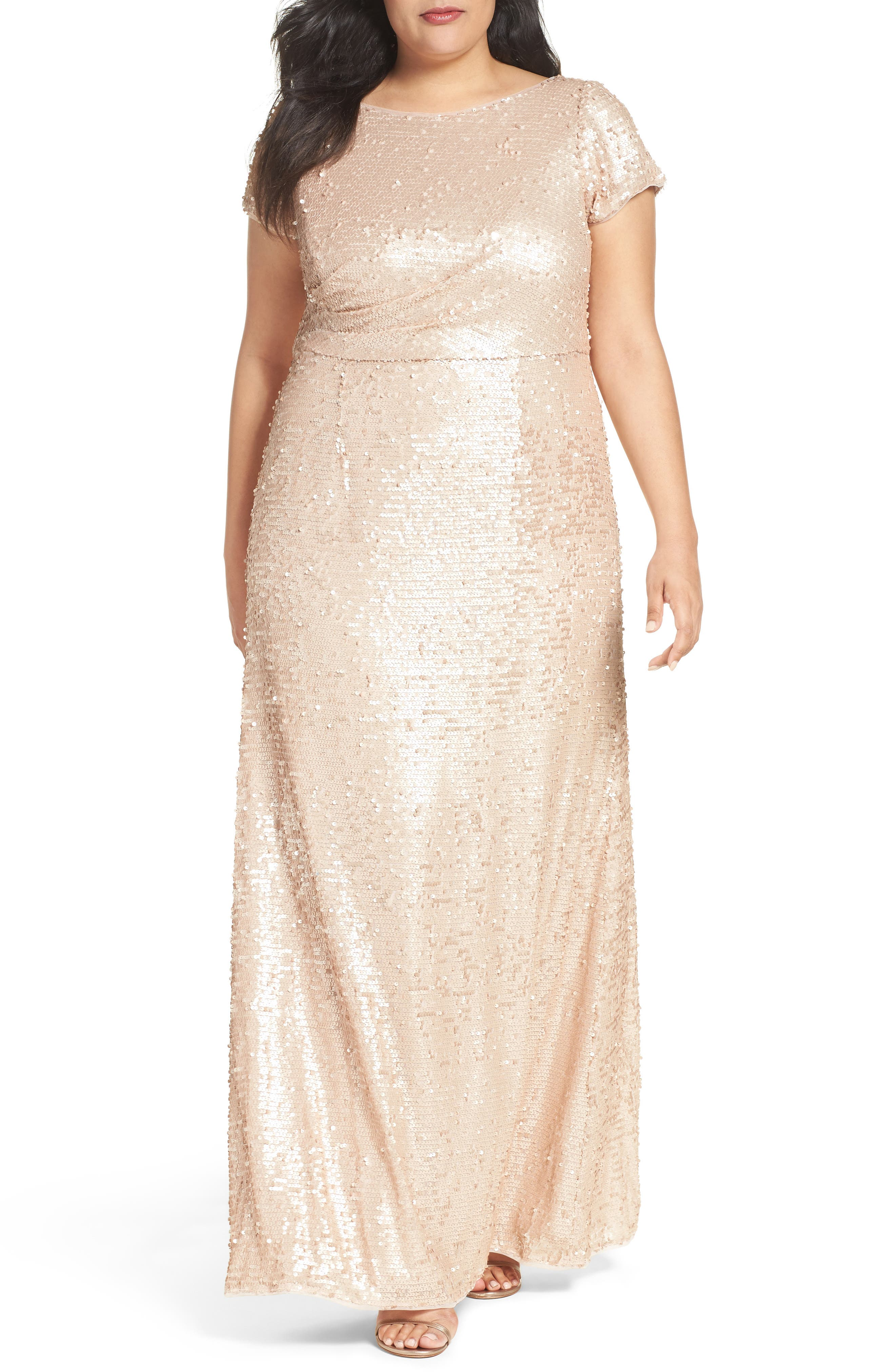 ADRIANNA PAPELL Short Sleeve Sequin Gown, Nude   ModeSens