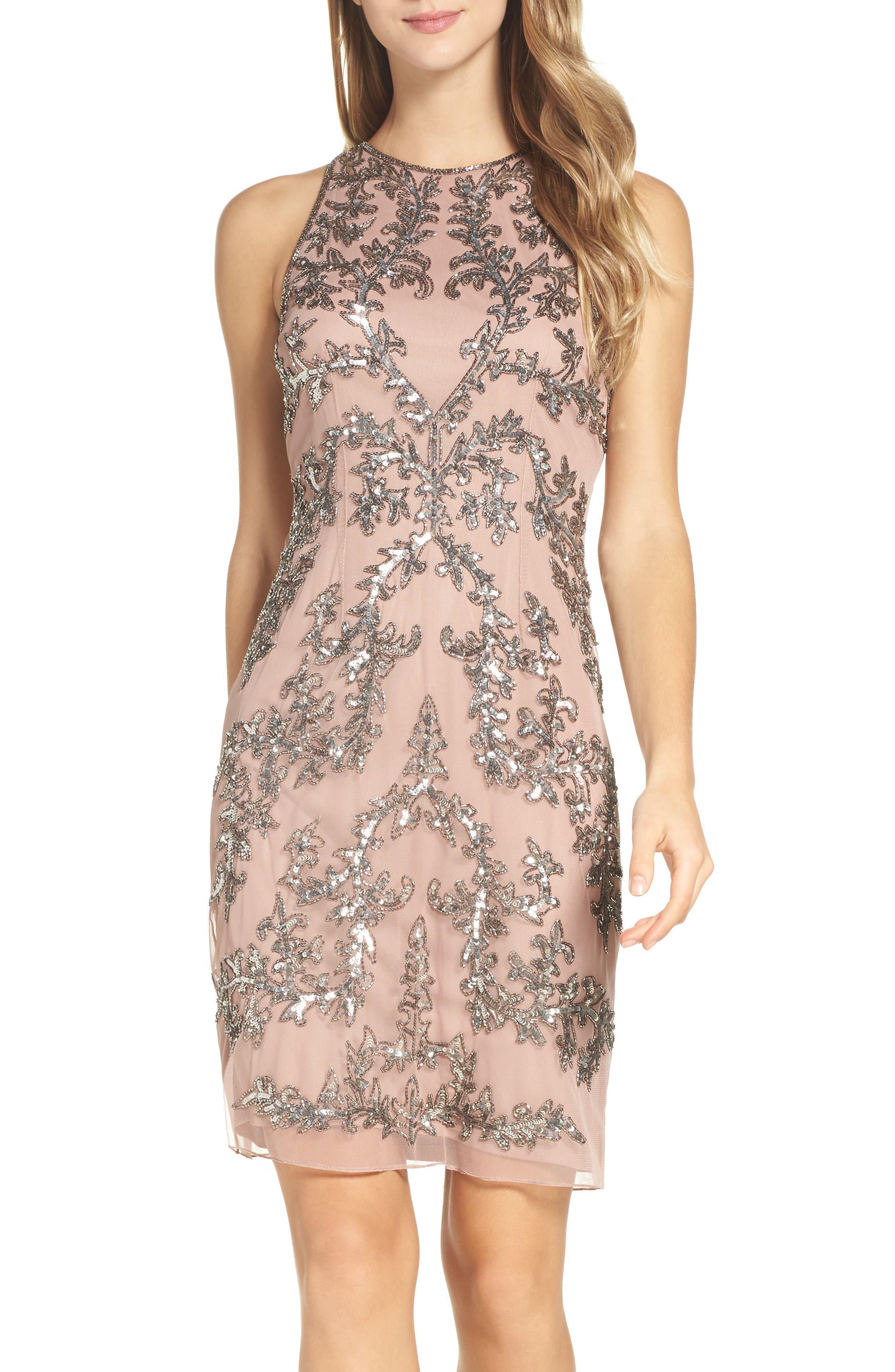 Embellished Chiffon Sheath Dress,                         Main,                         color, Rose Gold