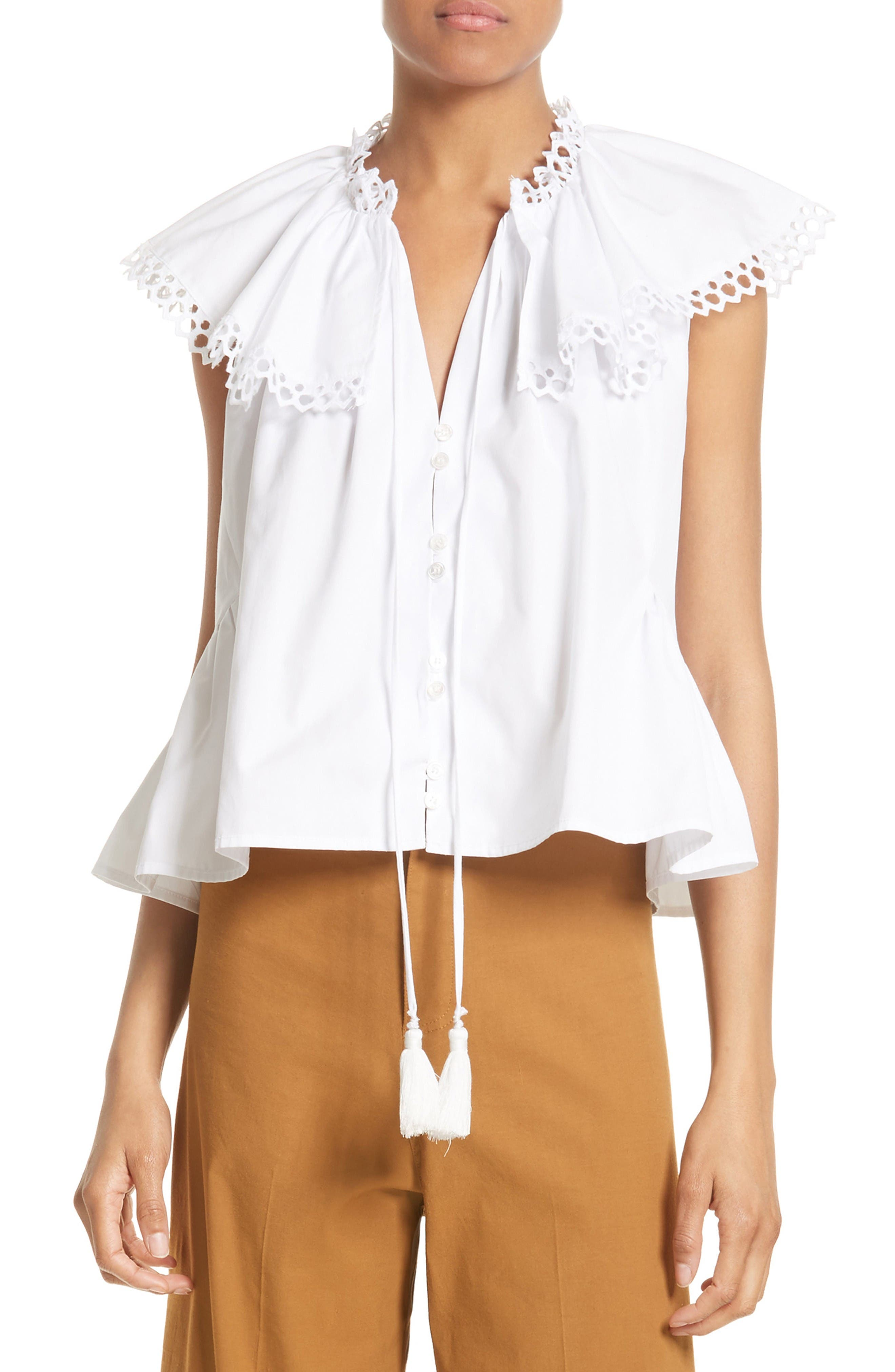 Main Image - Sea Cirque Eyelet Cotton Top