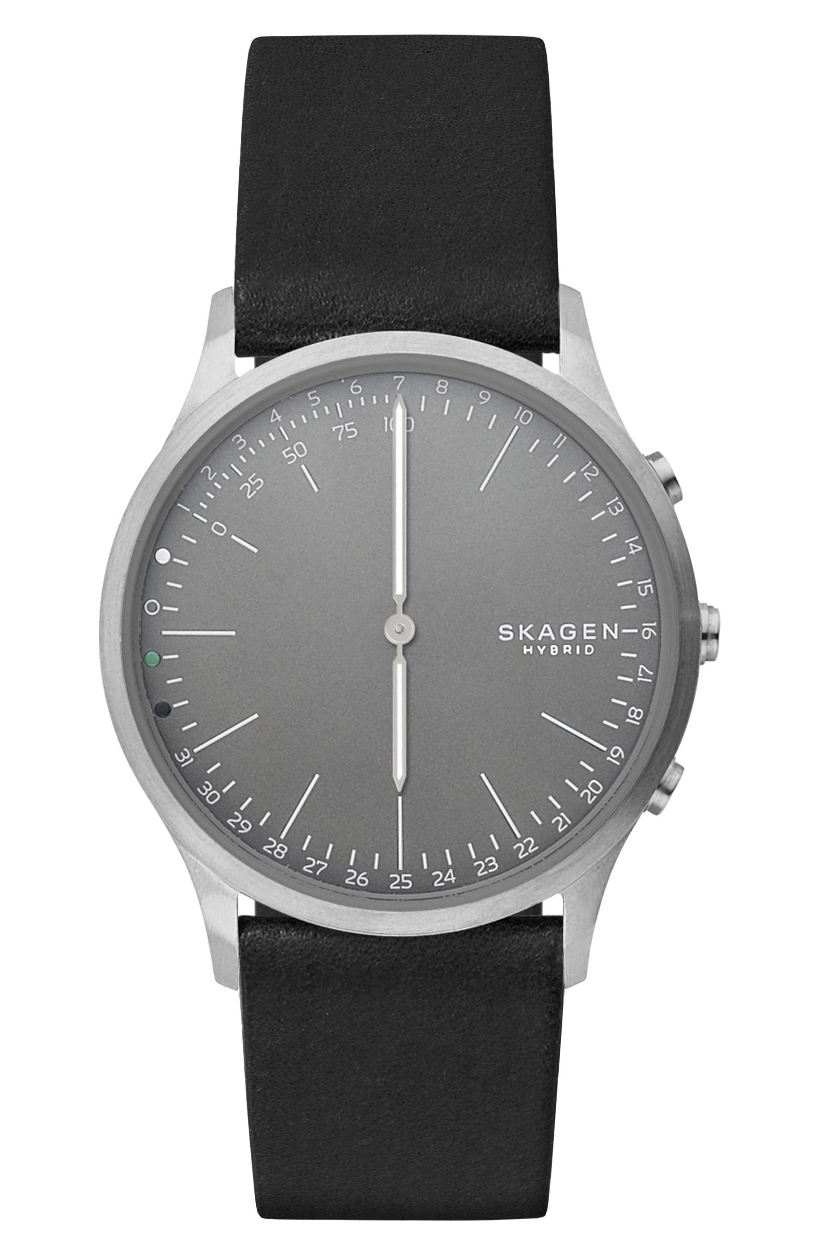 Main Image - Skagen Jorn Hybrid Leather Strap Smart Watch, 41mm