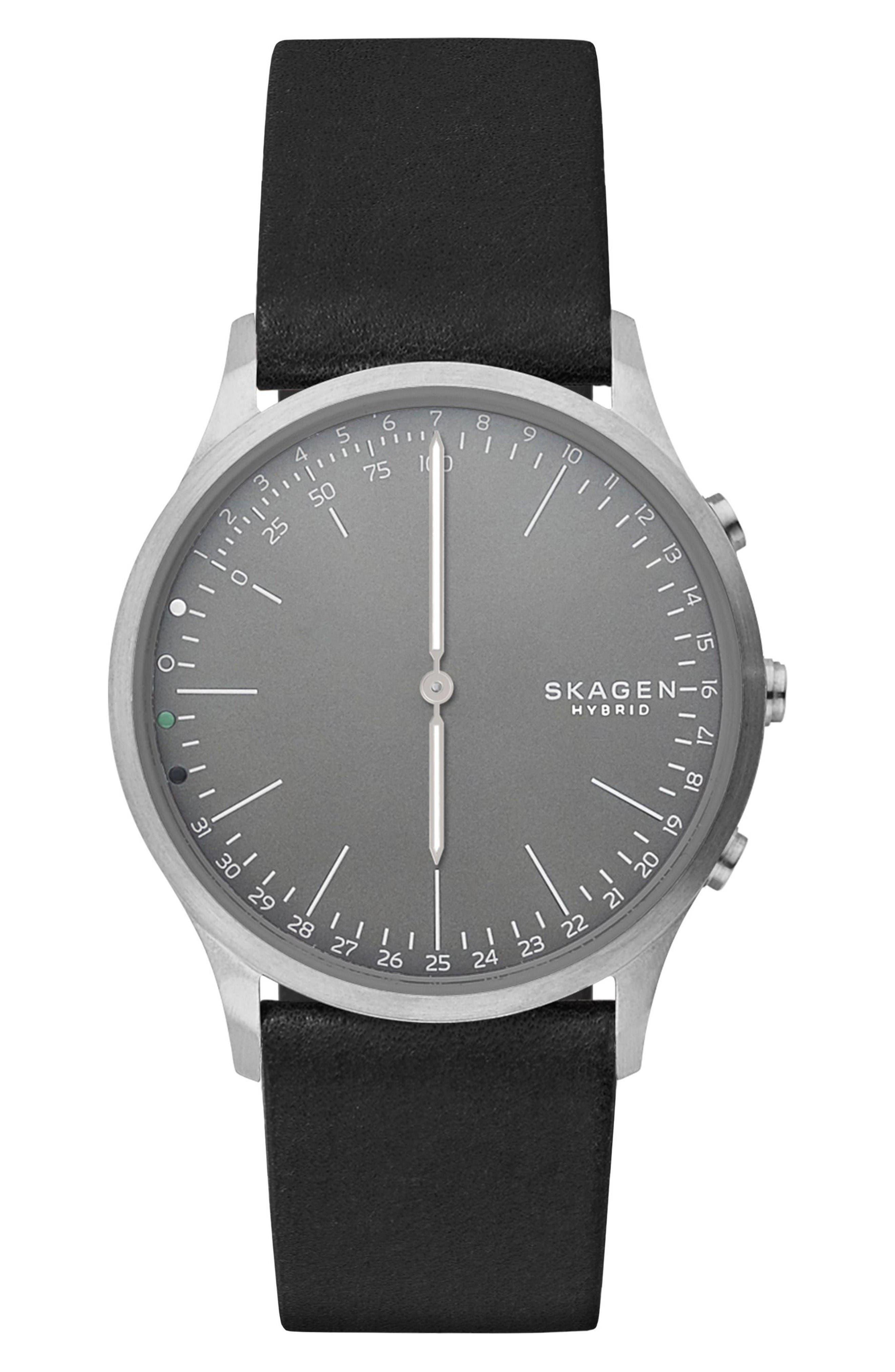 Jorn Hybrid Leather Strap Smart Watch, 41mm,                         Main,                         color, Black/ Grey/ Gunmetal