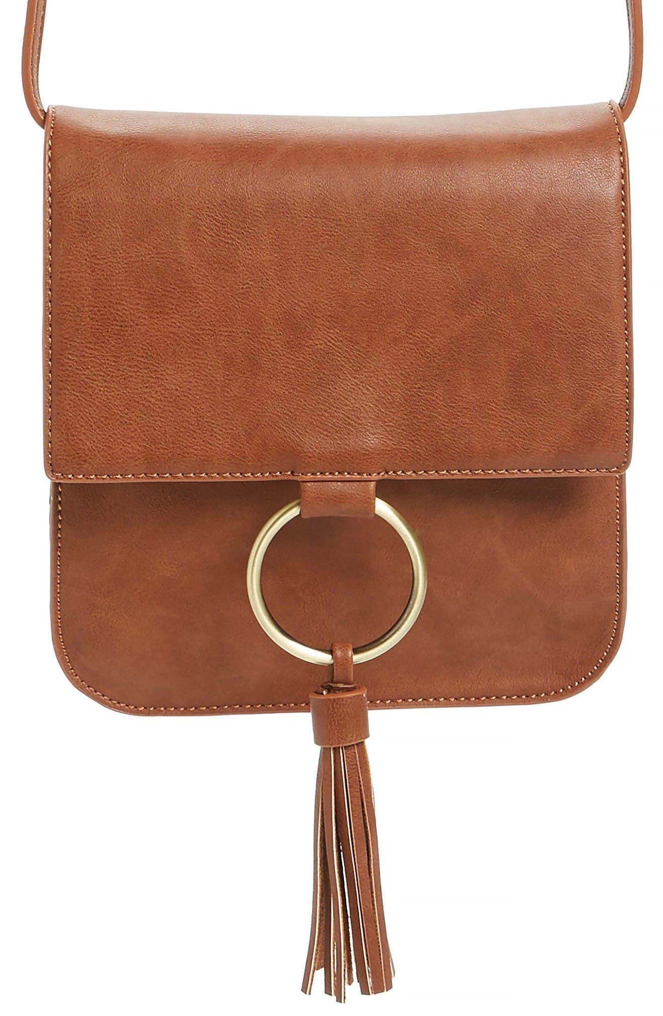 Square Crossbody Bag,                             Alternate thumbnail 4, color,                             Cognac