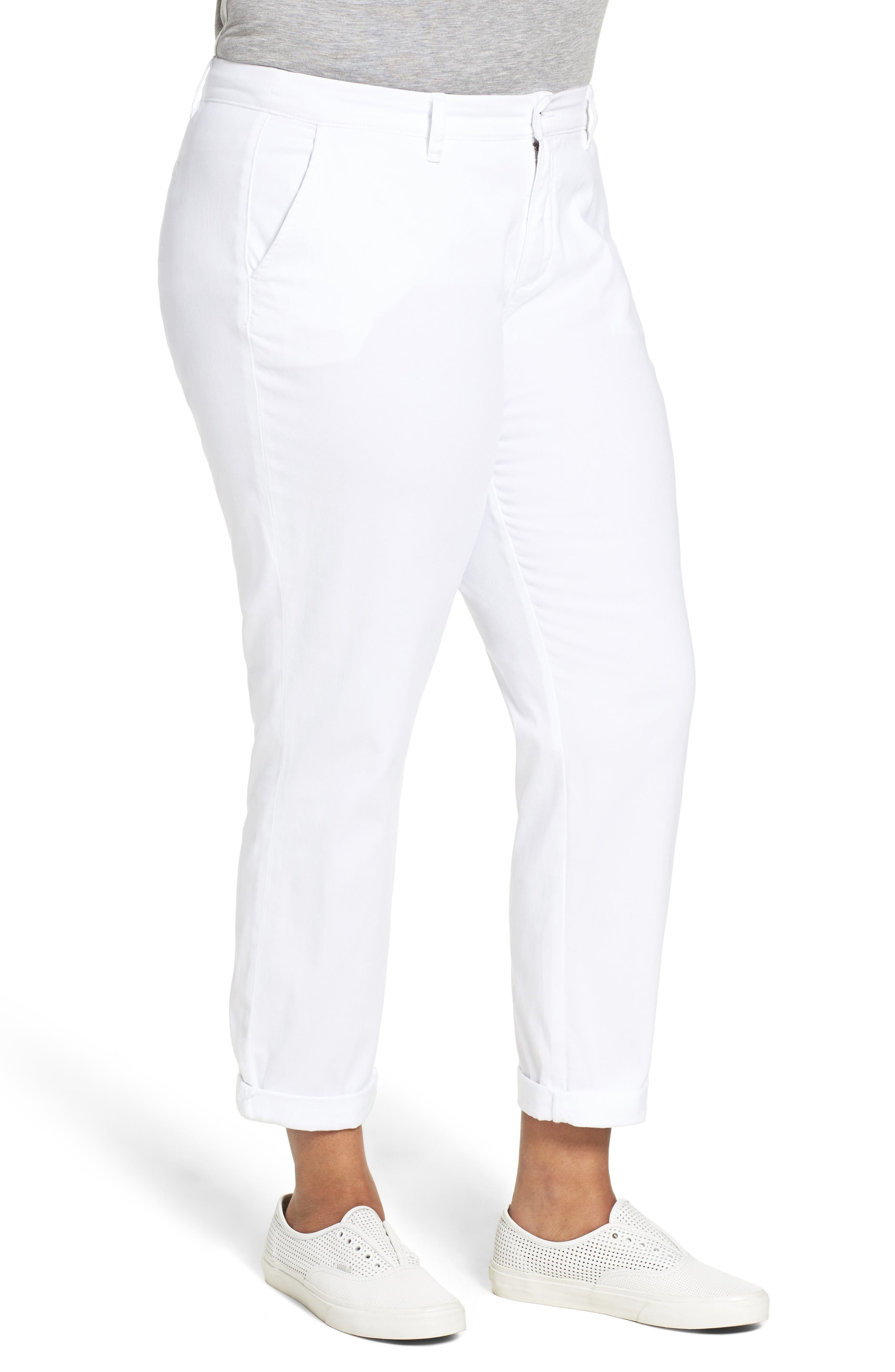 Alternate Image 3  - Sejour Stretch Cotton Ankle Pants (Plus Size)