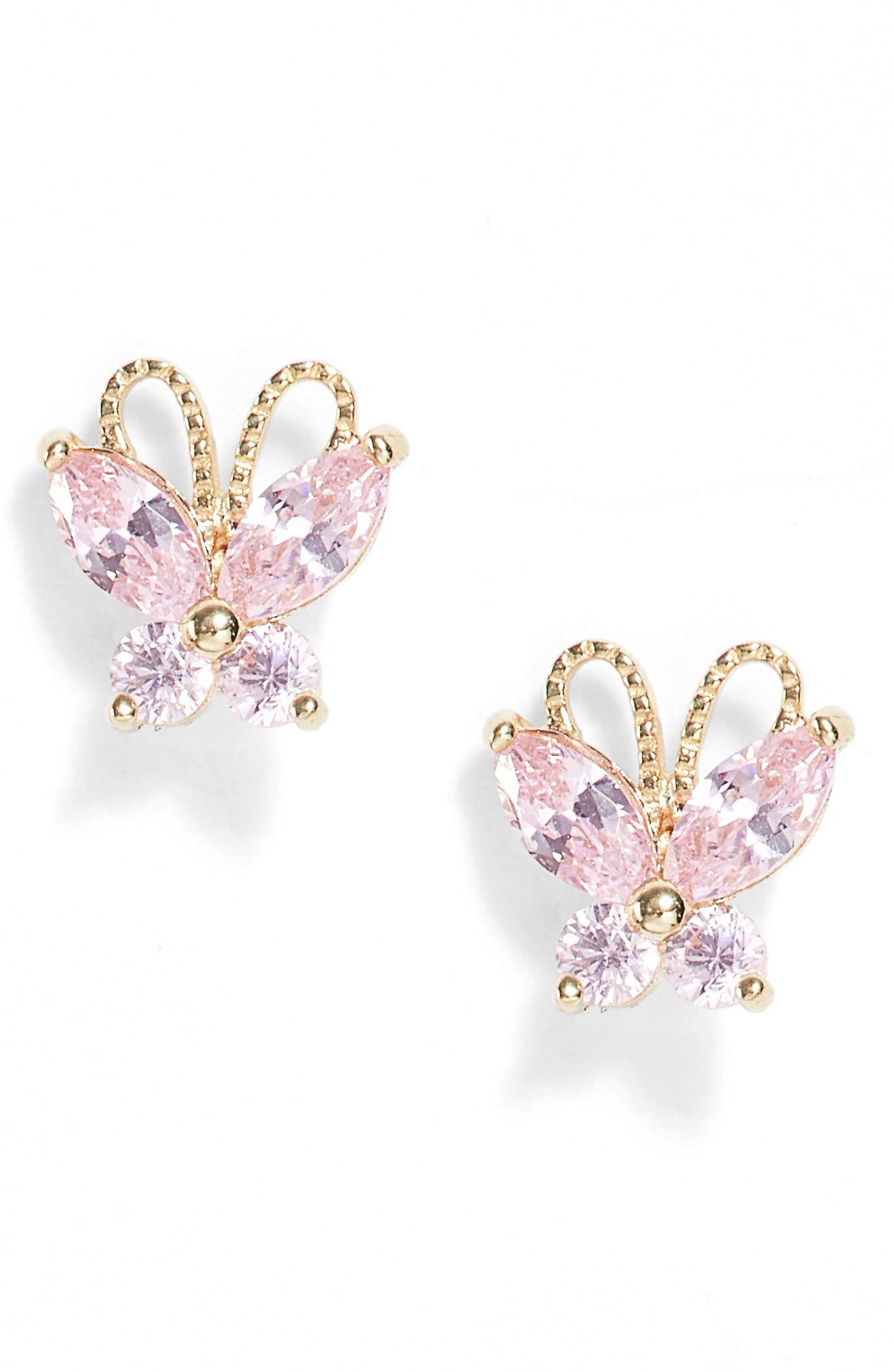 Alternate Image 1 Selected - Kardee Jewelry 14k Gold & Pink Cubic Zirconia Butterfly Earrings (Girls)