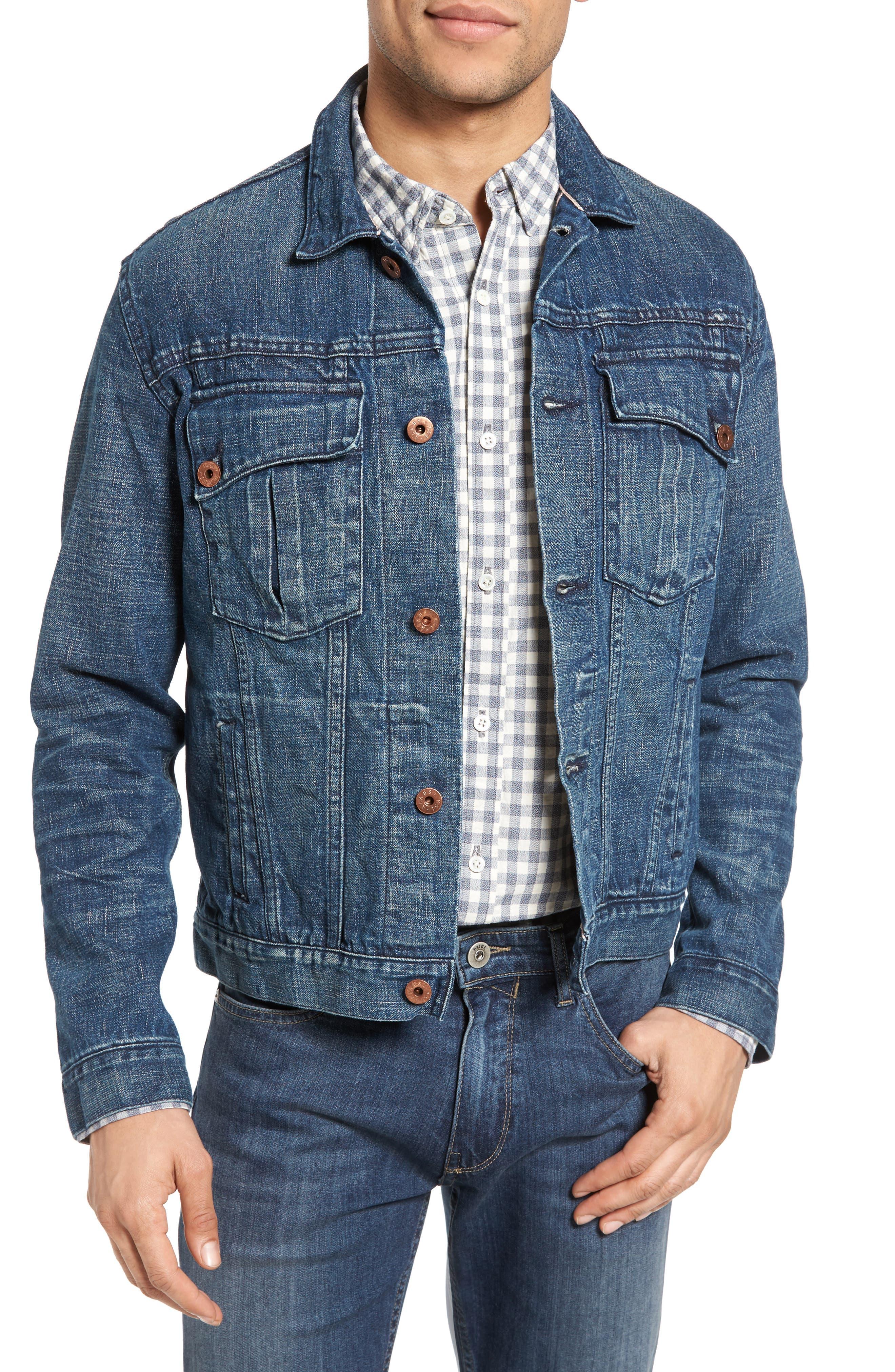 Clayton Distressed Selvedge Denim Jacket,                         Main,                         color, Denim Wash