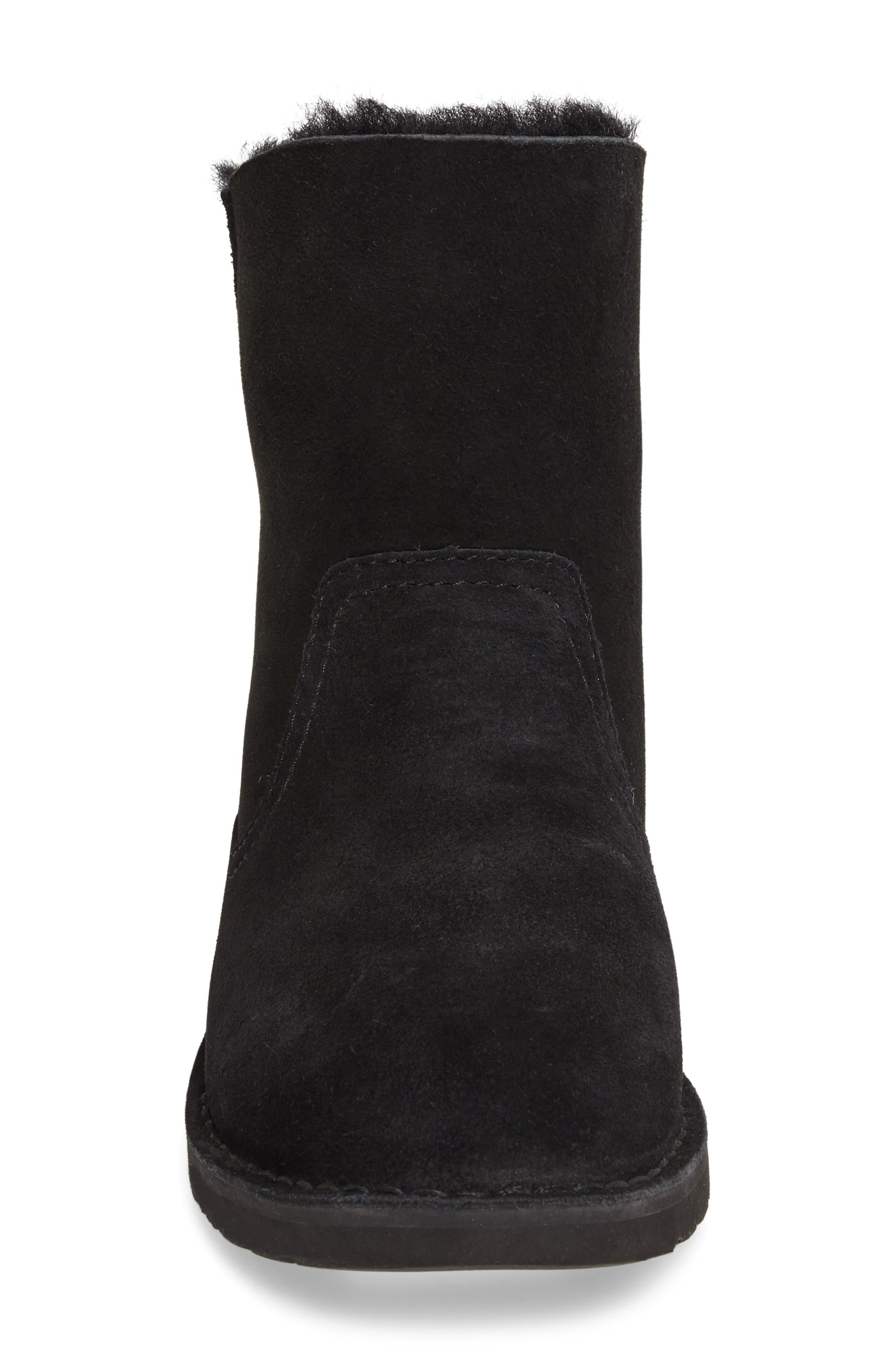 Naiyah Lace-Back Genuine Shearling Boot,                             Alternate thumbnail 4, color,                             Black Nubuck Leather