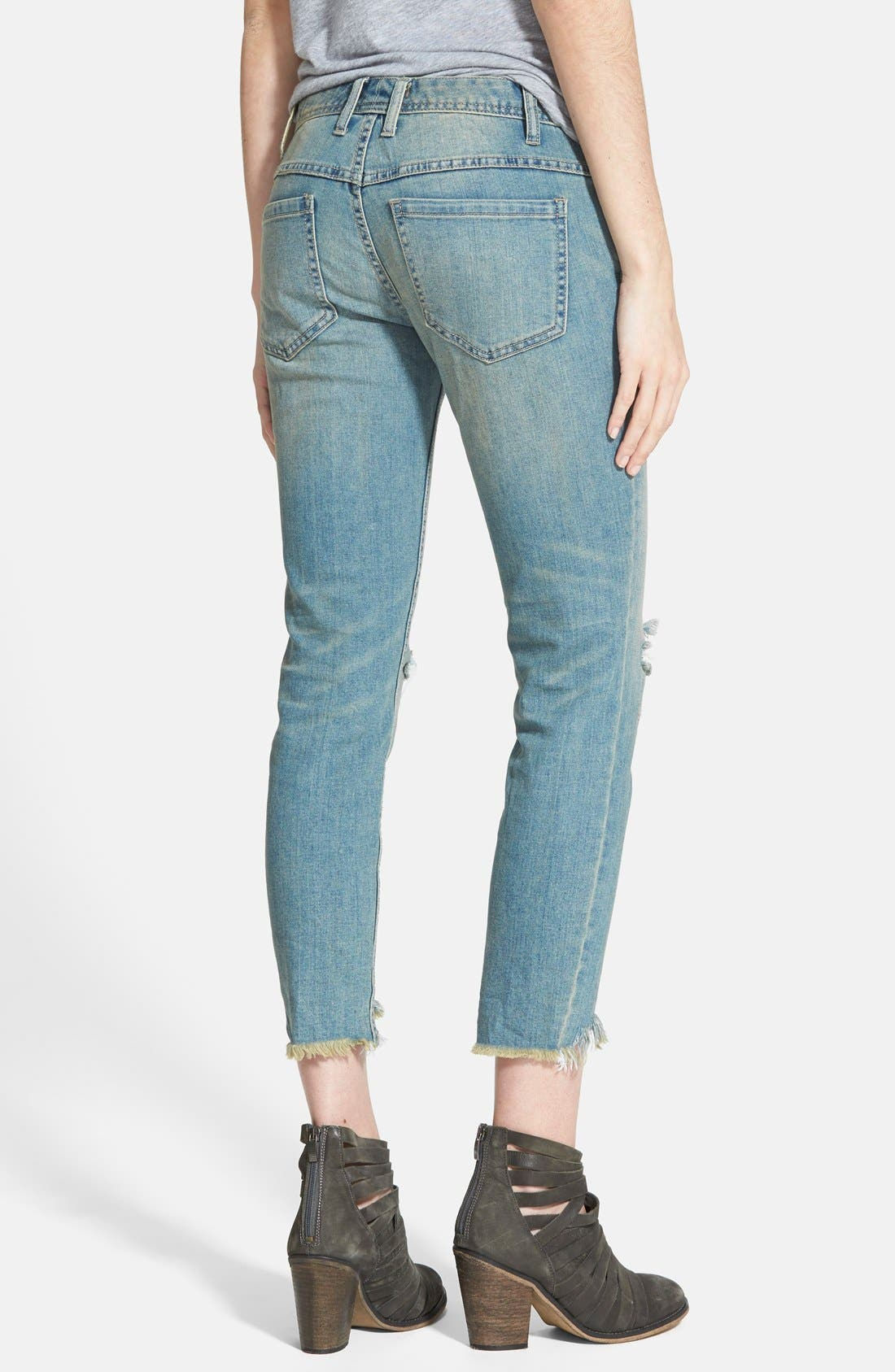 Alternate Image 2  - Free People Destroyed Skinny Jeans (Sitka)