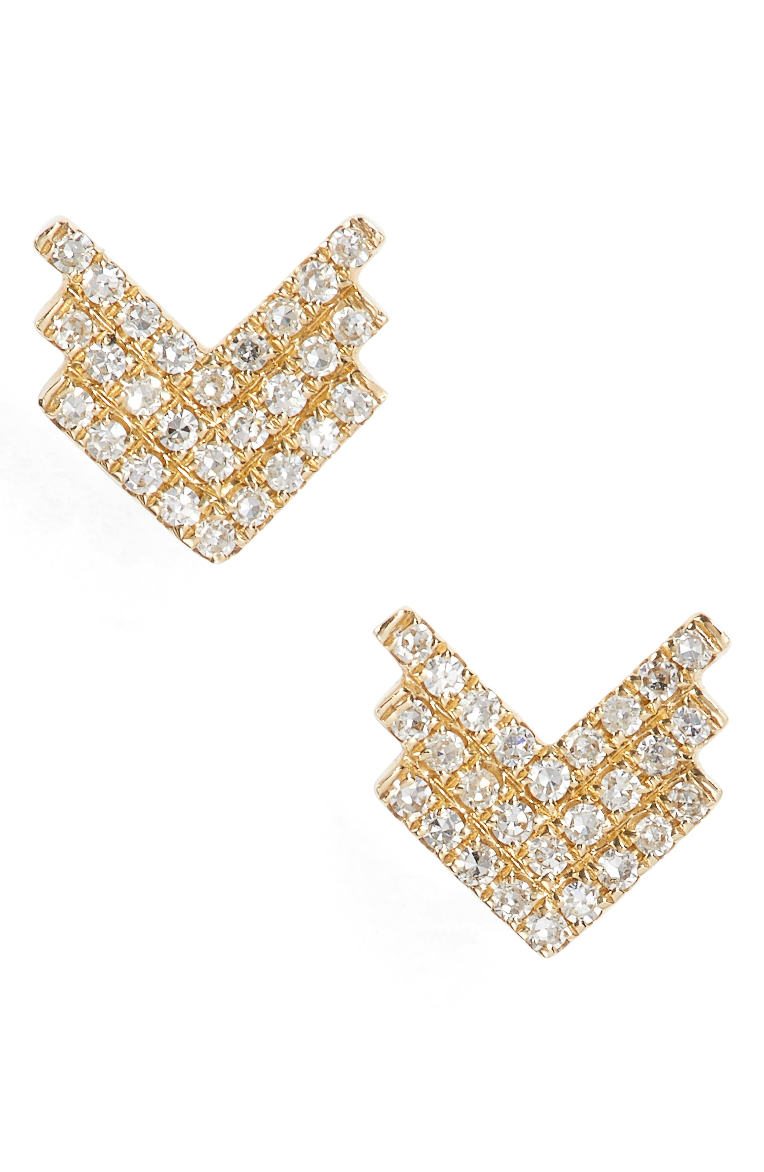 EF COLLECTION Shield Diamond Stud Earrings
