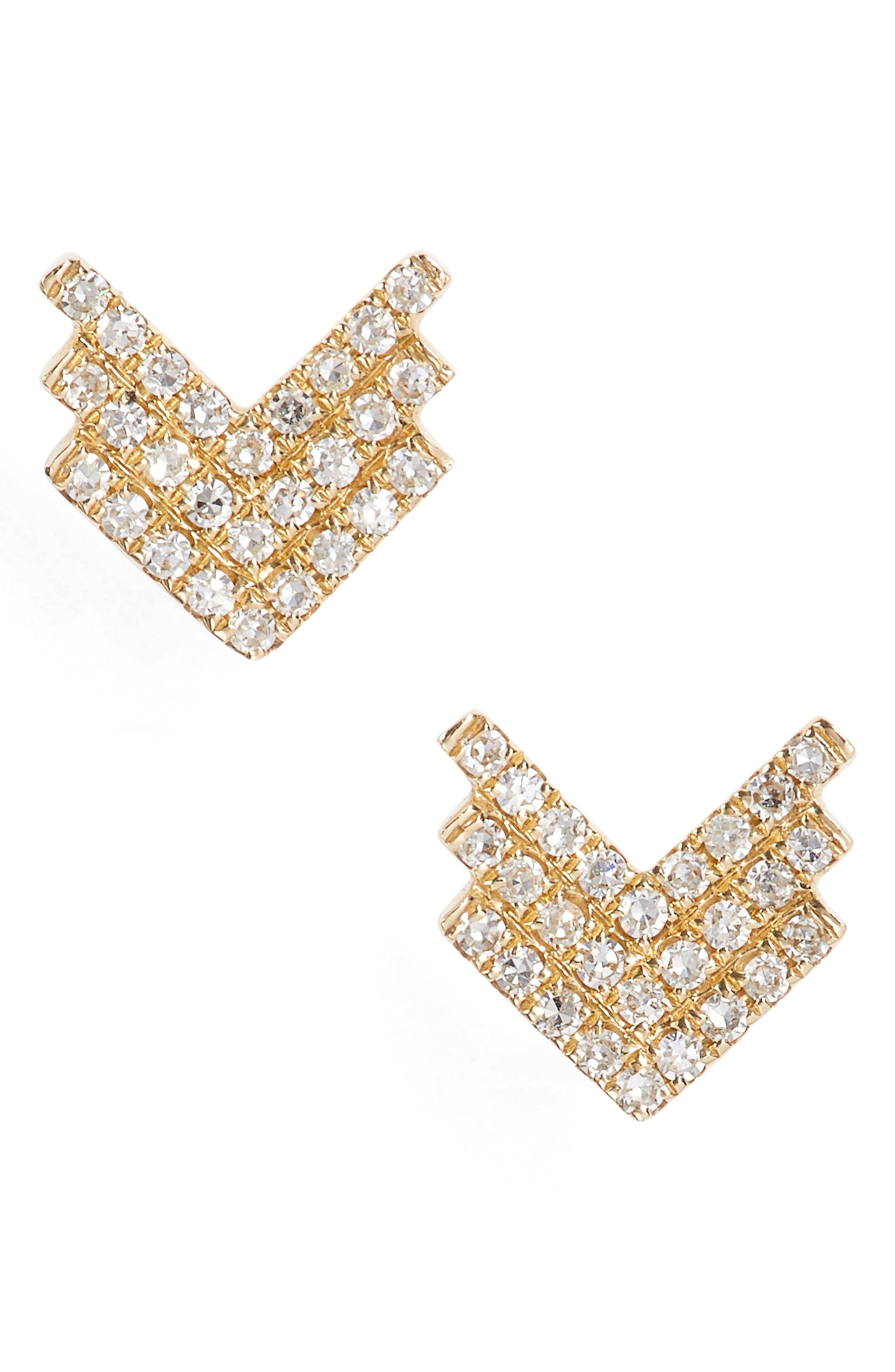 Shield Diamond Stud Earrings,                         Main,                         color, Yellow Gold