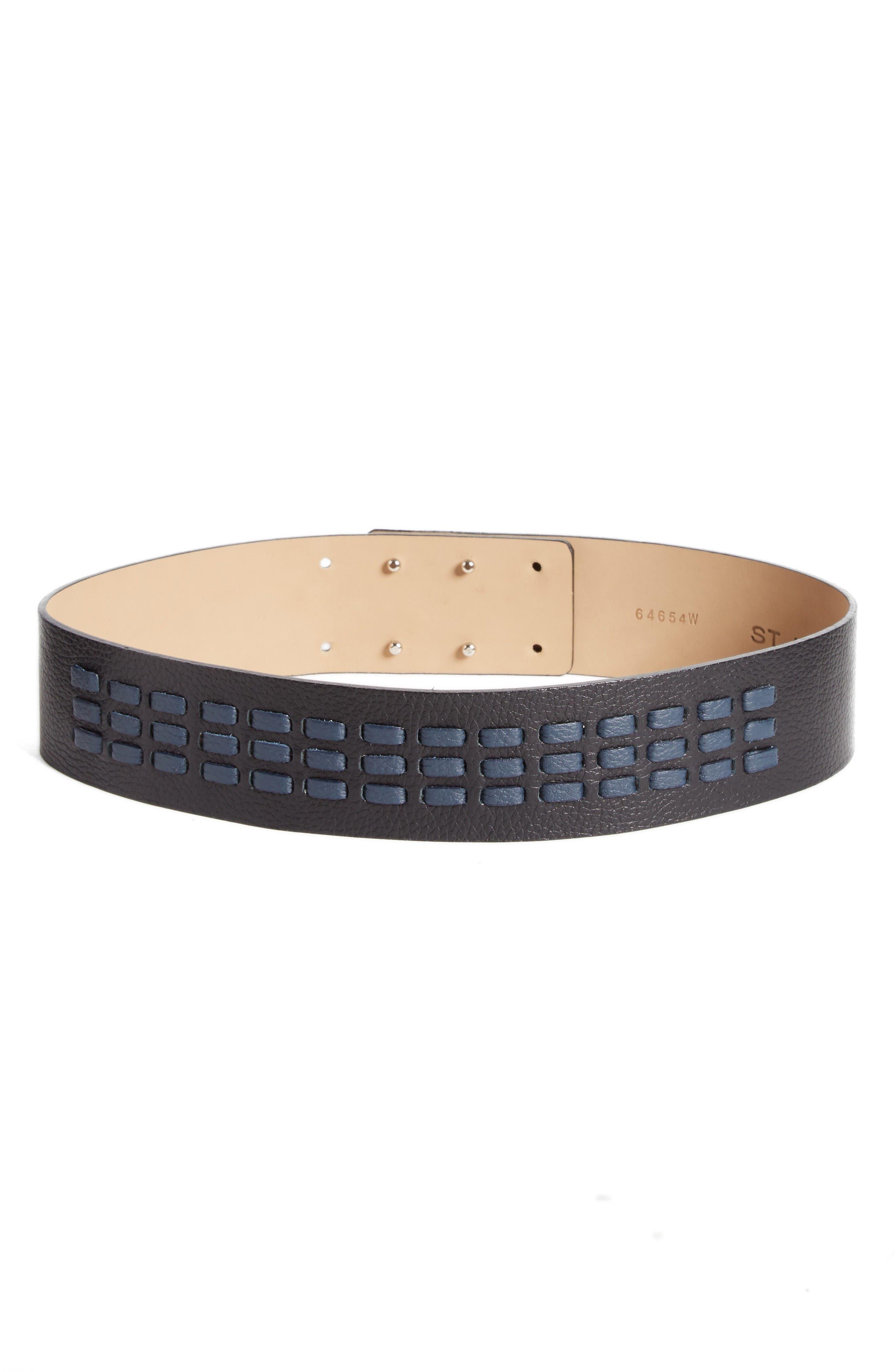 Woven Leather Belt,                             Main thumbnail 1, color,                             Caviar/ Navy