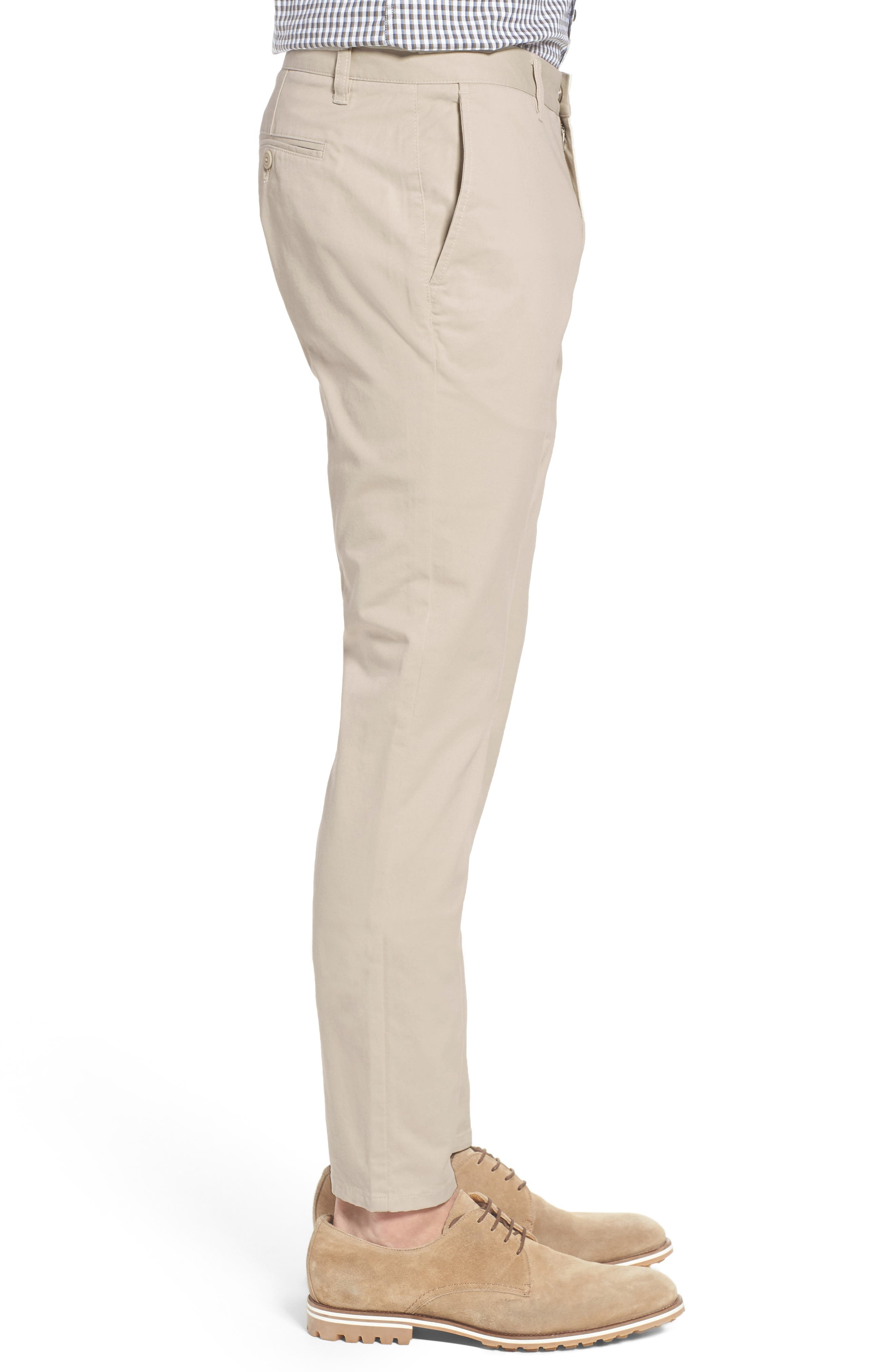 Tailored Fit Washed Stretch Cotton Chinos,                             Alternate thumbnail 3, color,                             Millstones