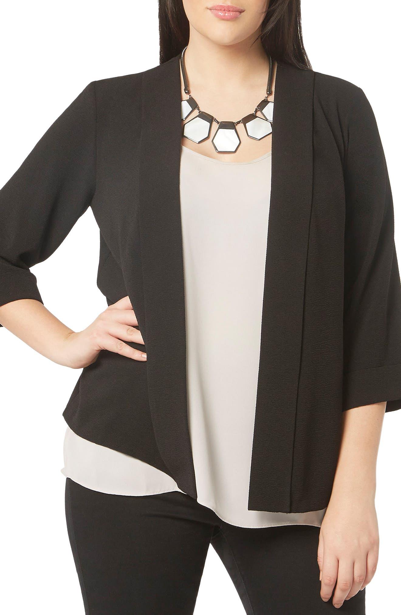 Crepe Panel Jacket,                         Main,                         color, Black