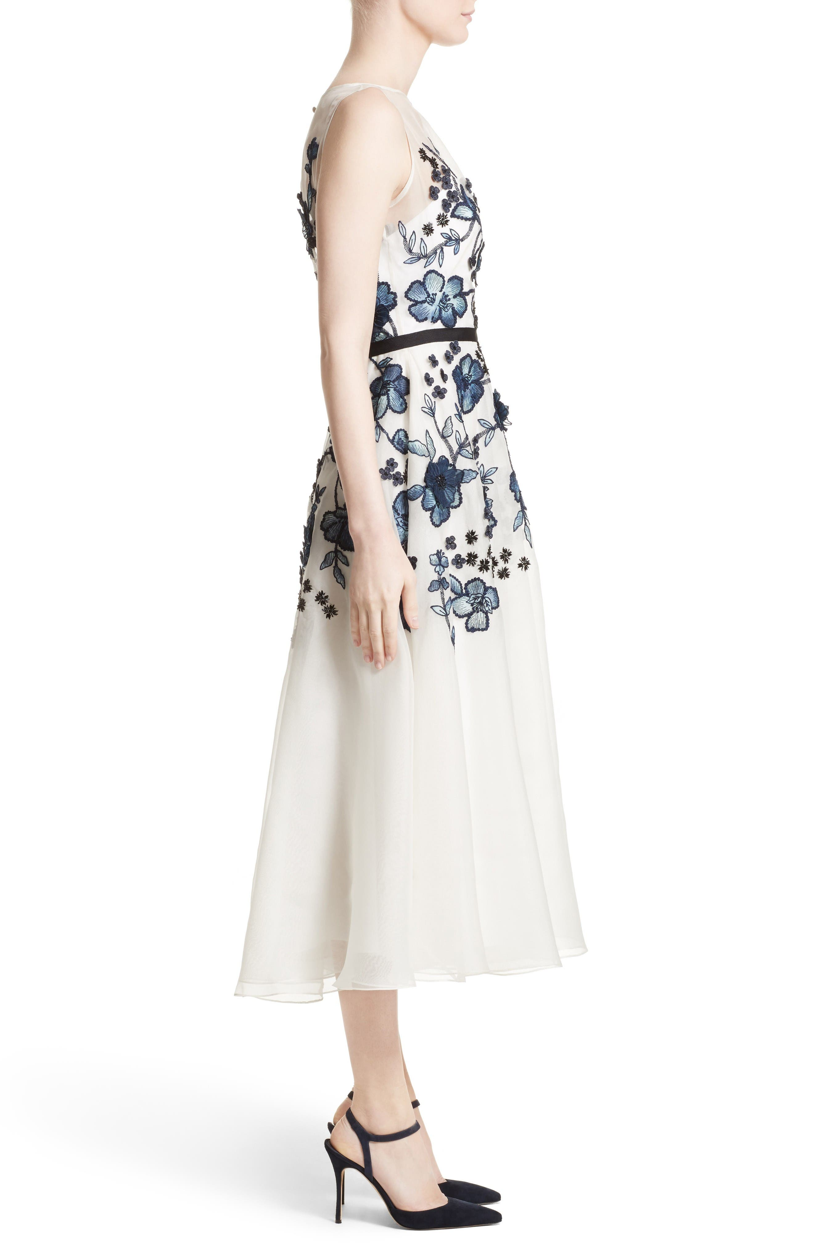 Floral Embroidered Dress,                             Alternate thumbnail 5, color,                             Navy/ Ivory