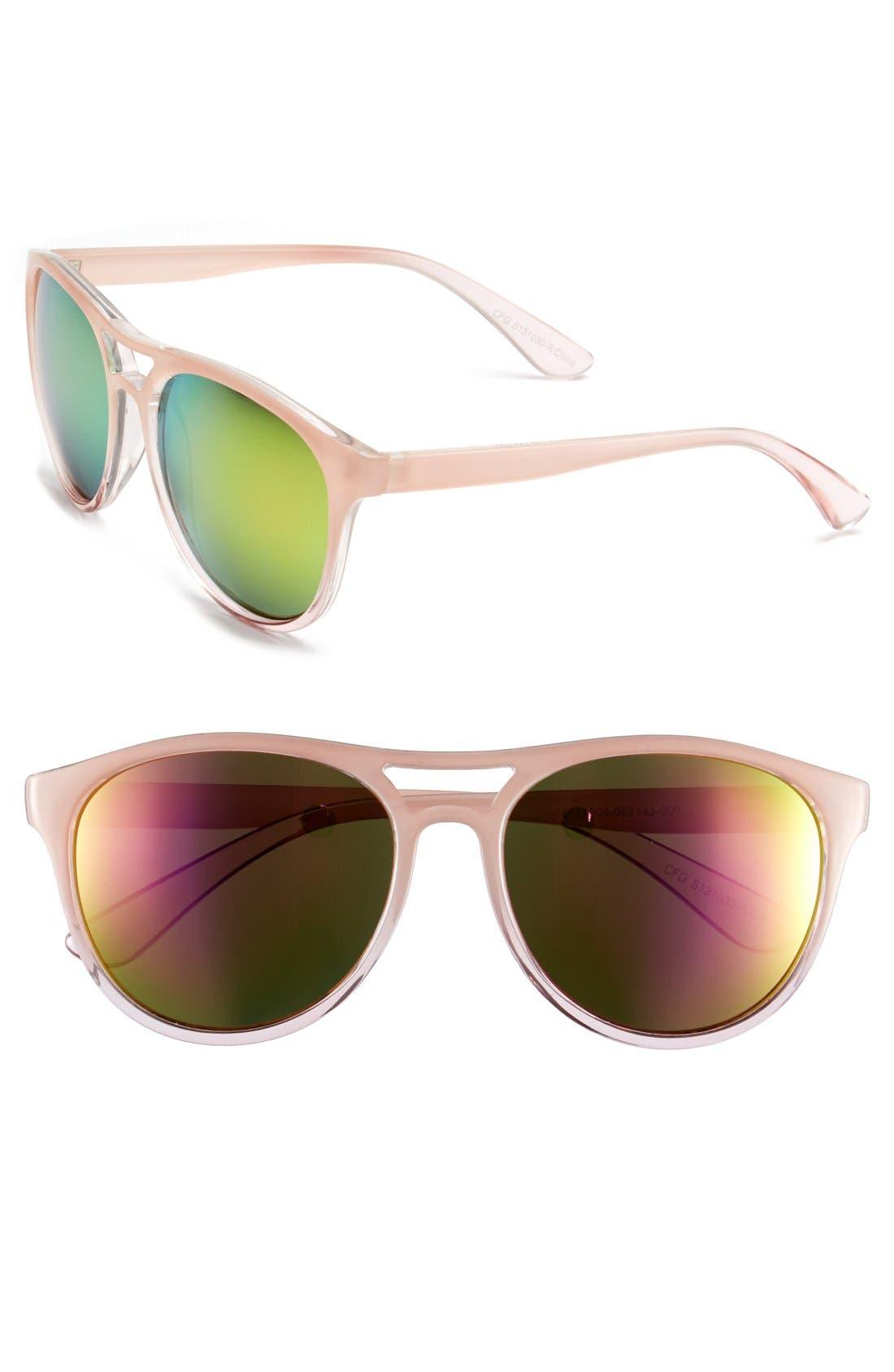 55mm Oversize Retro Sunglasses,                             Main thumbnail 1, color,                             Pink