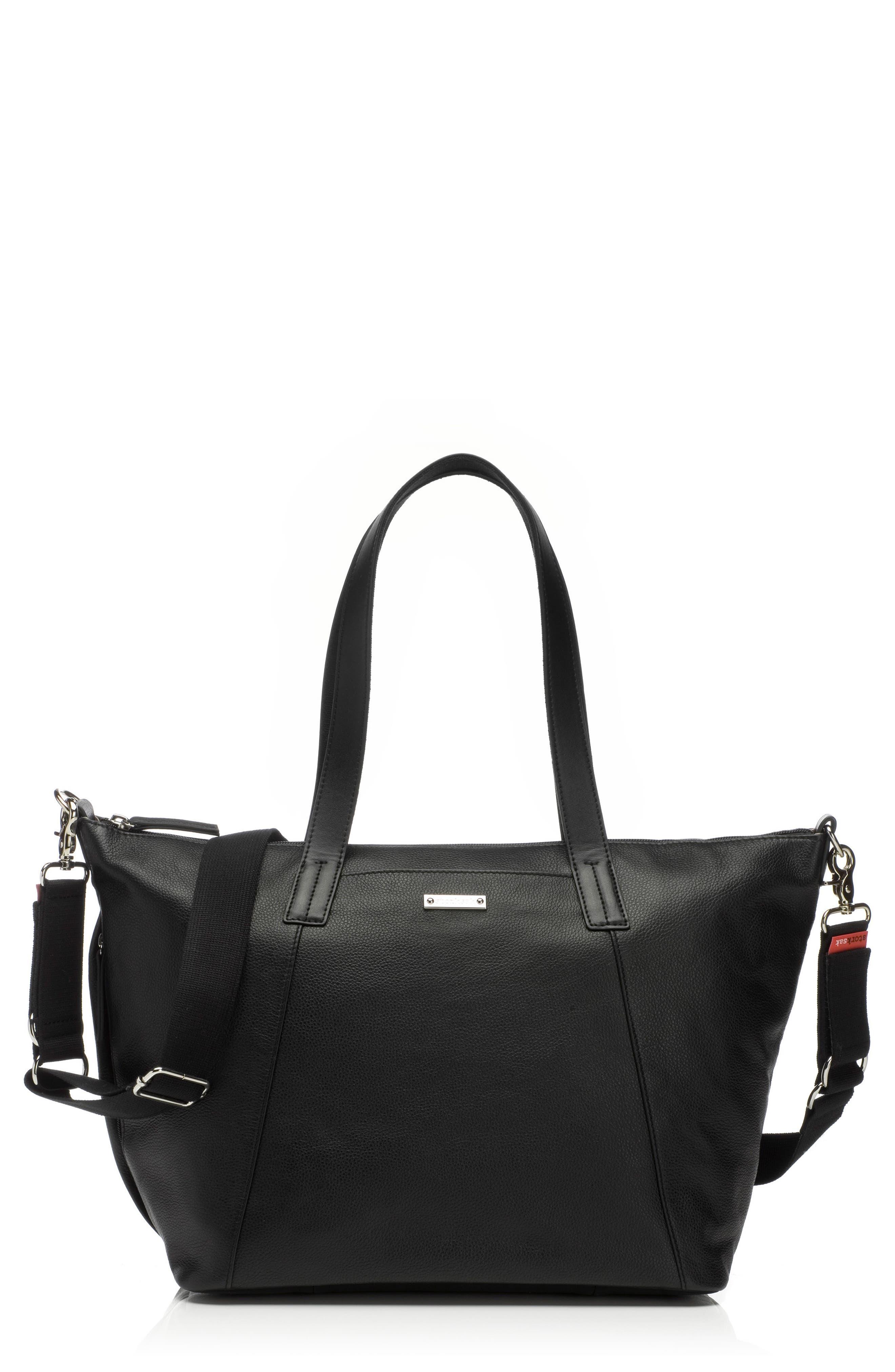 NOA Leather Diaper Bag,                             Main thumbnail 1, color,                             Black