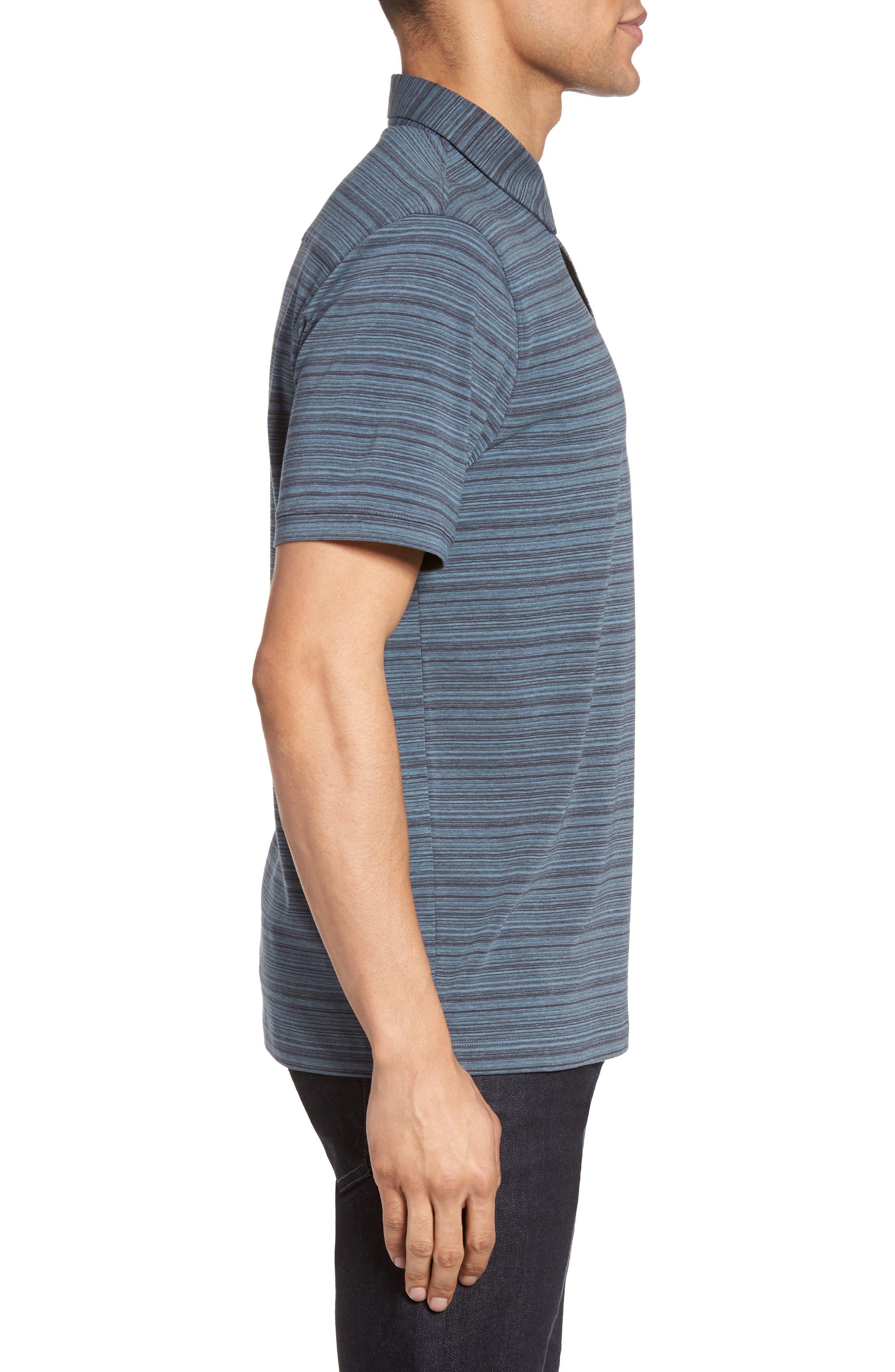 Trim Fit Stripe Polo,                             Alternate thumbnail 3, color,                             Blue Dusk Varied Stripe