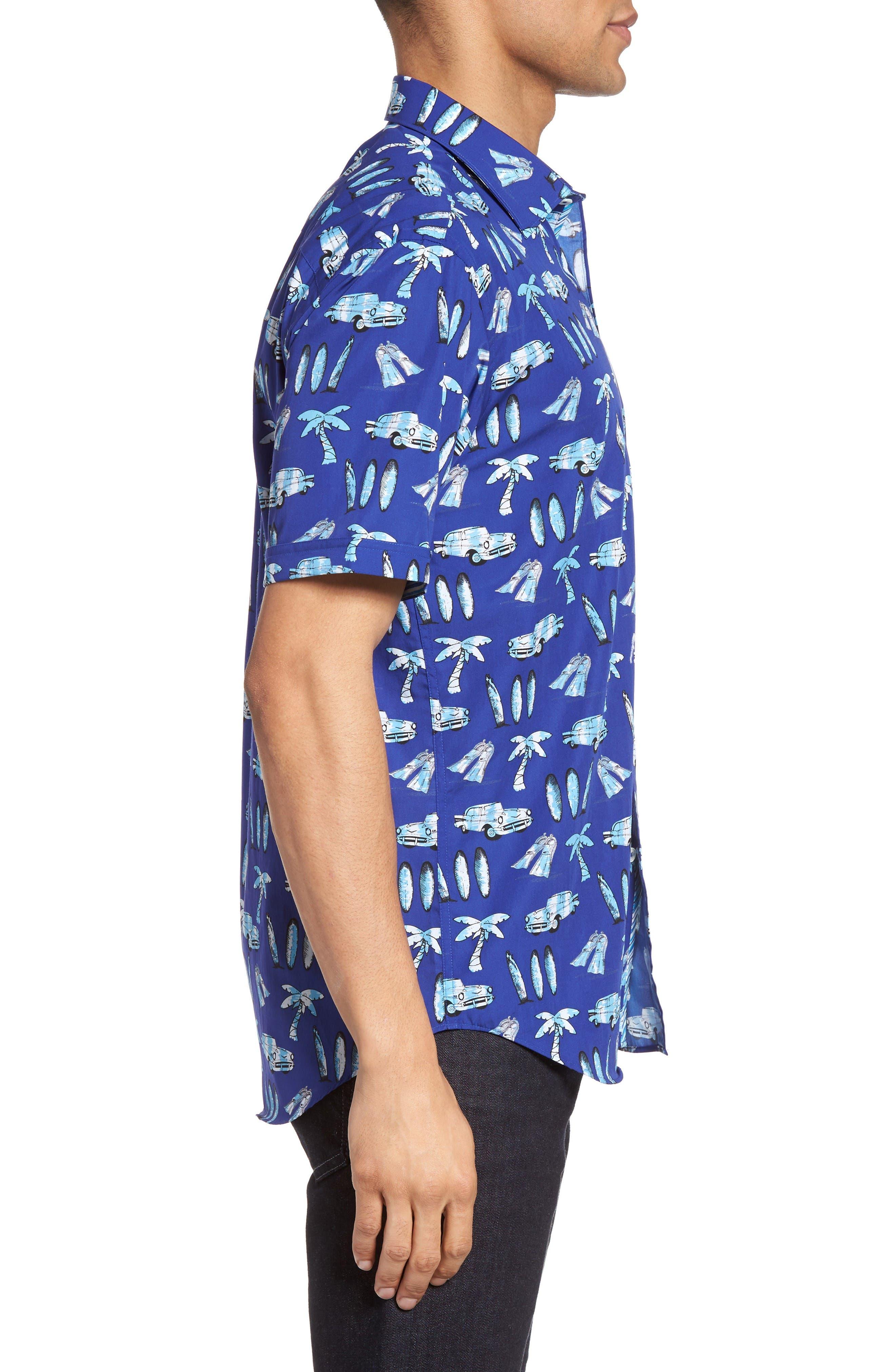 Alternate Image 3  - Bugatchi Shaped Fit Beach Print Sport Shirt