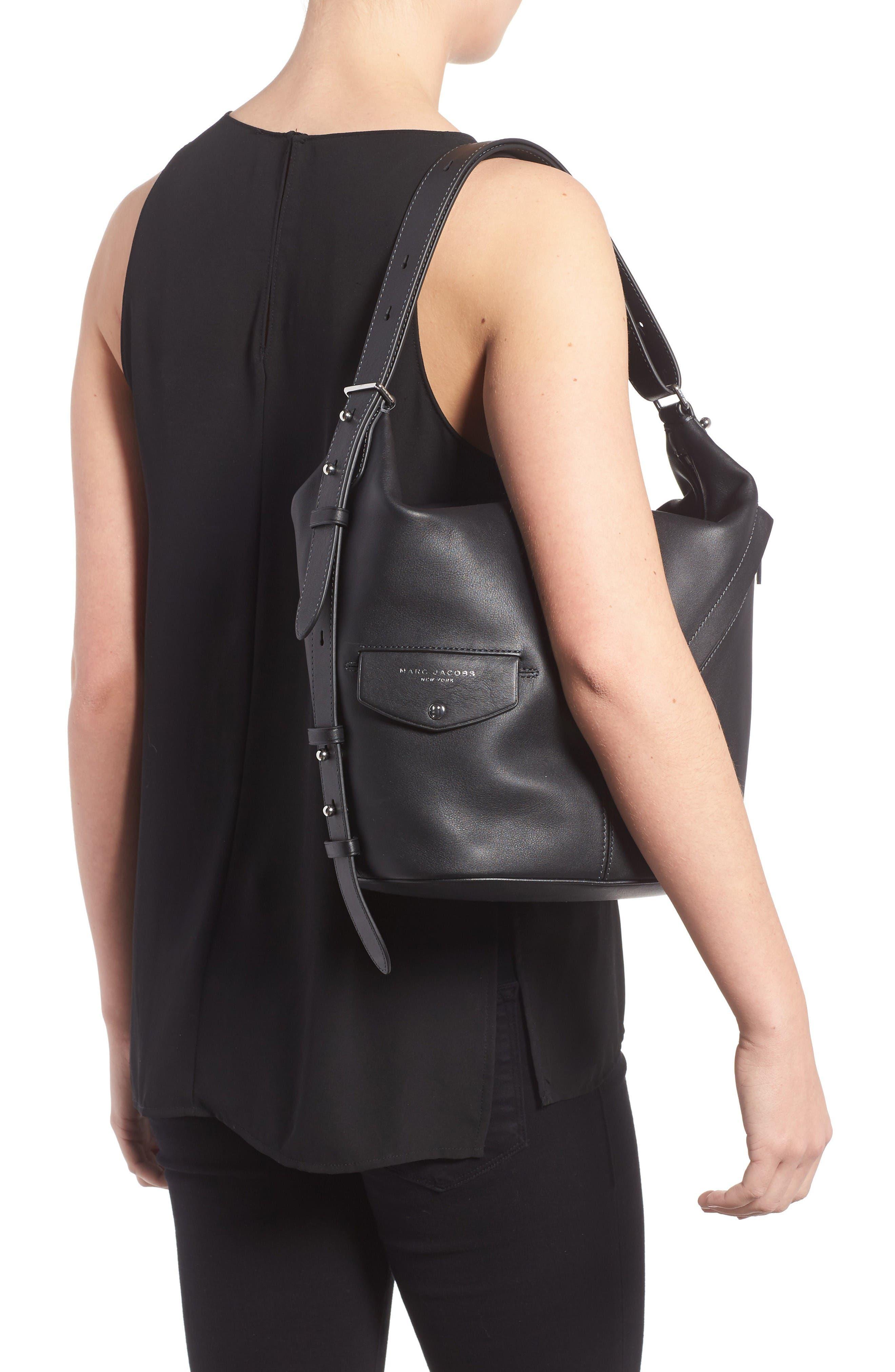The Sling Convertible Leather Hobo,                             Alternate thumbnail 2, color,                             Black