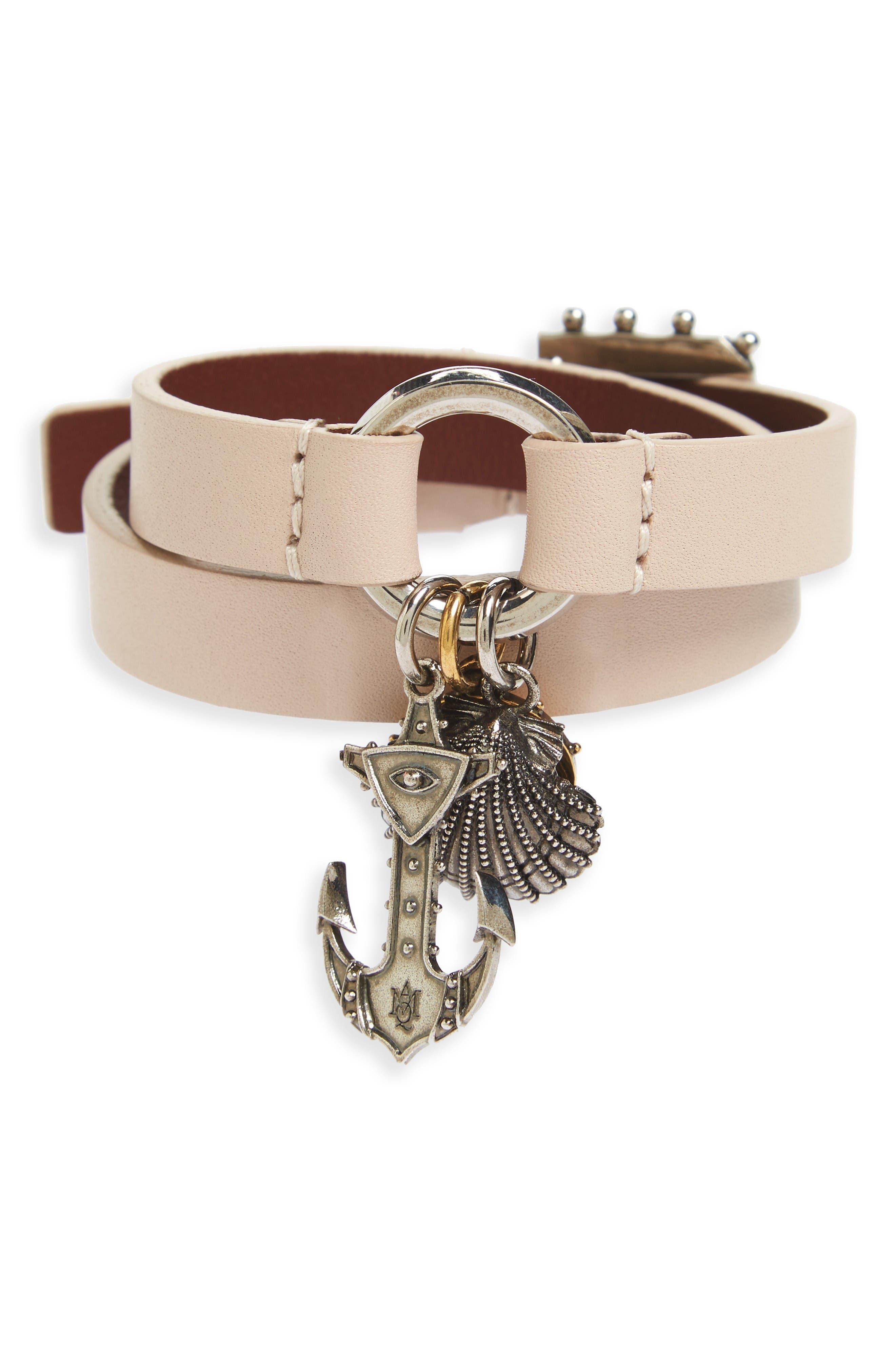 Alexander McQueen Marine Leather Wrap Bracelet