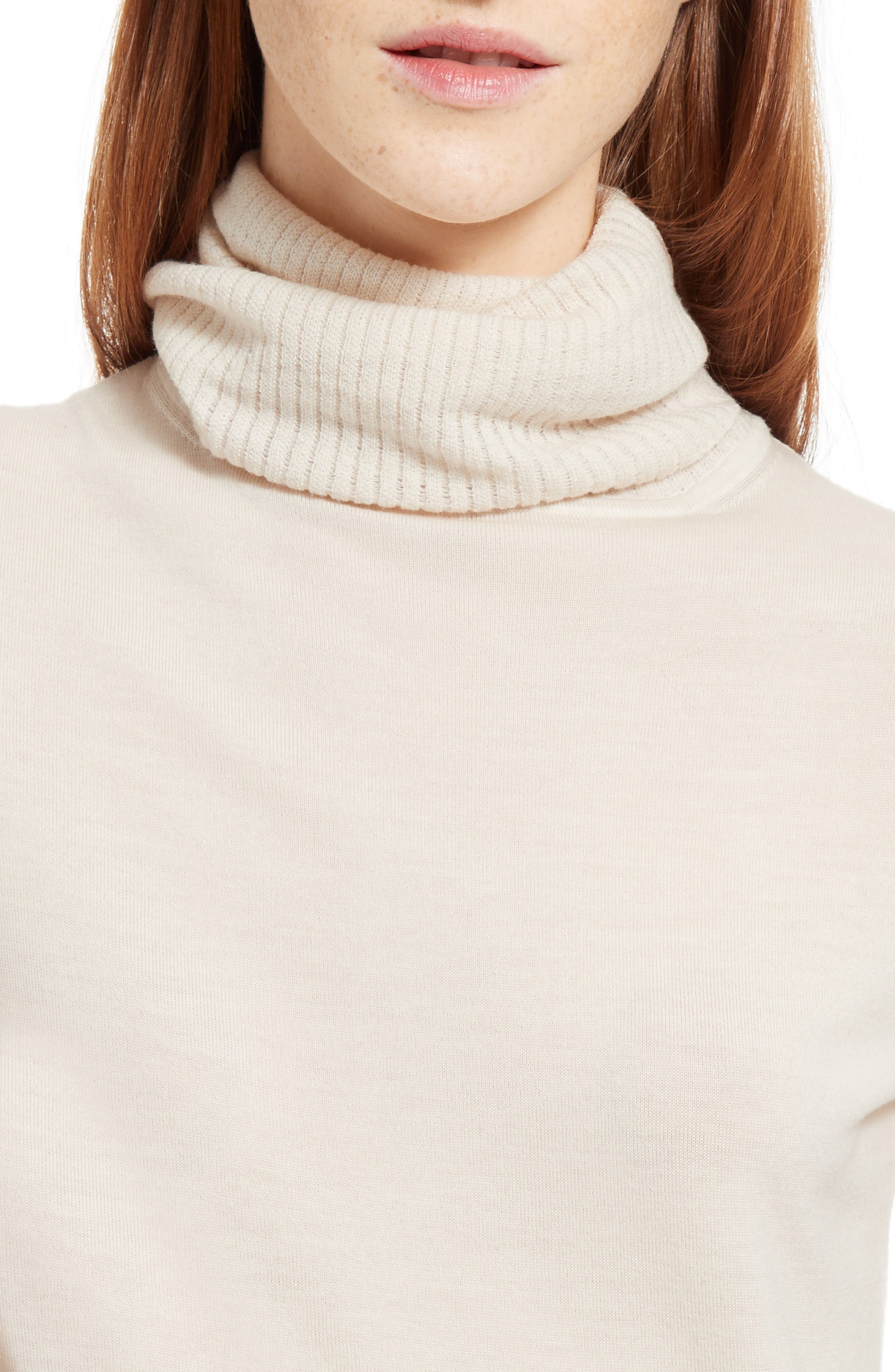 Wool Turtleneck Sweater,                             Alternate thumbnail 7, color,                             Off White