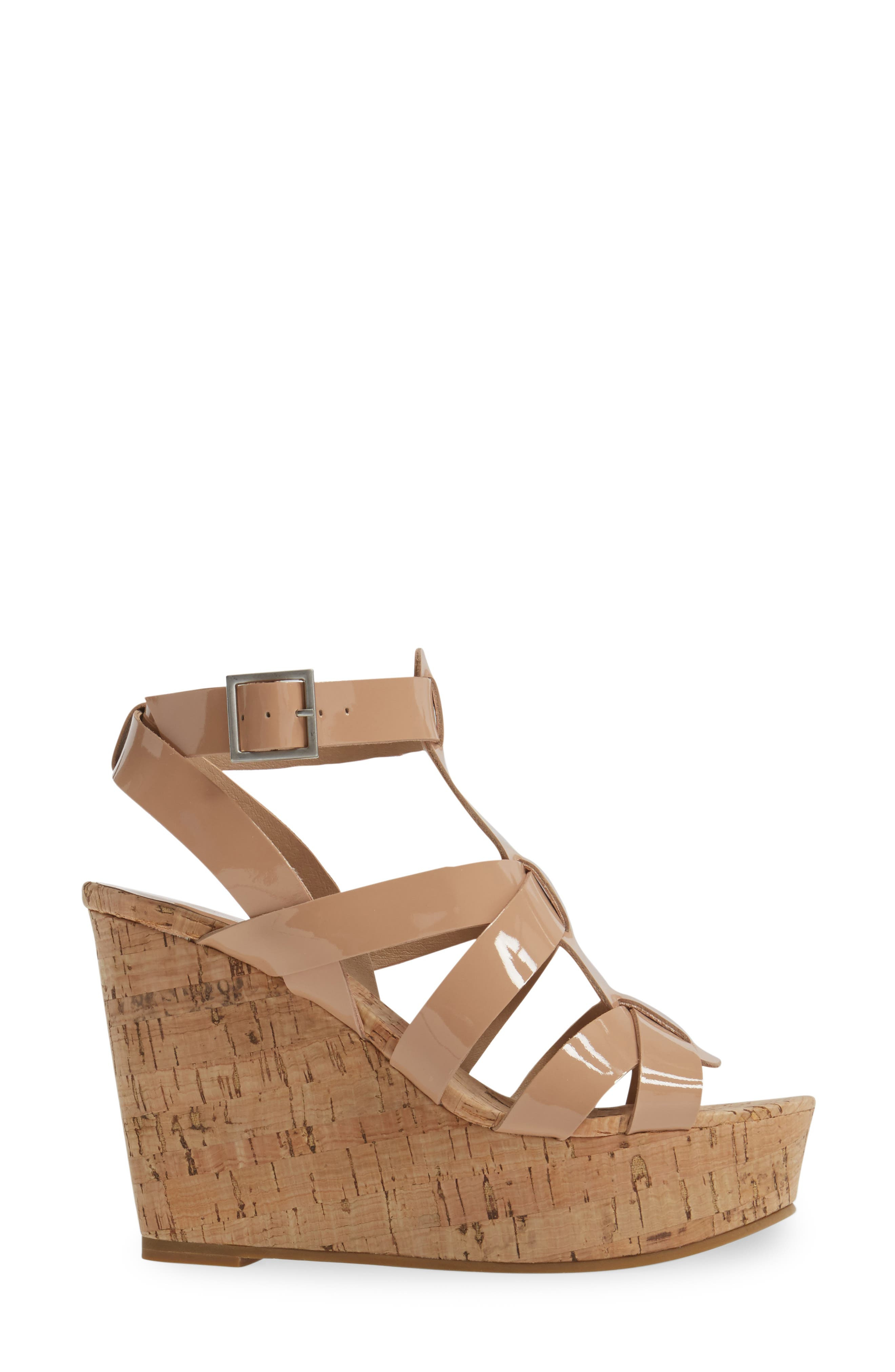 Rayjay Wedge Sandal,                             Alternate thumbnail 3, color,                             Blush Leather