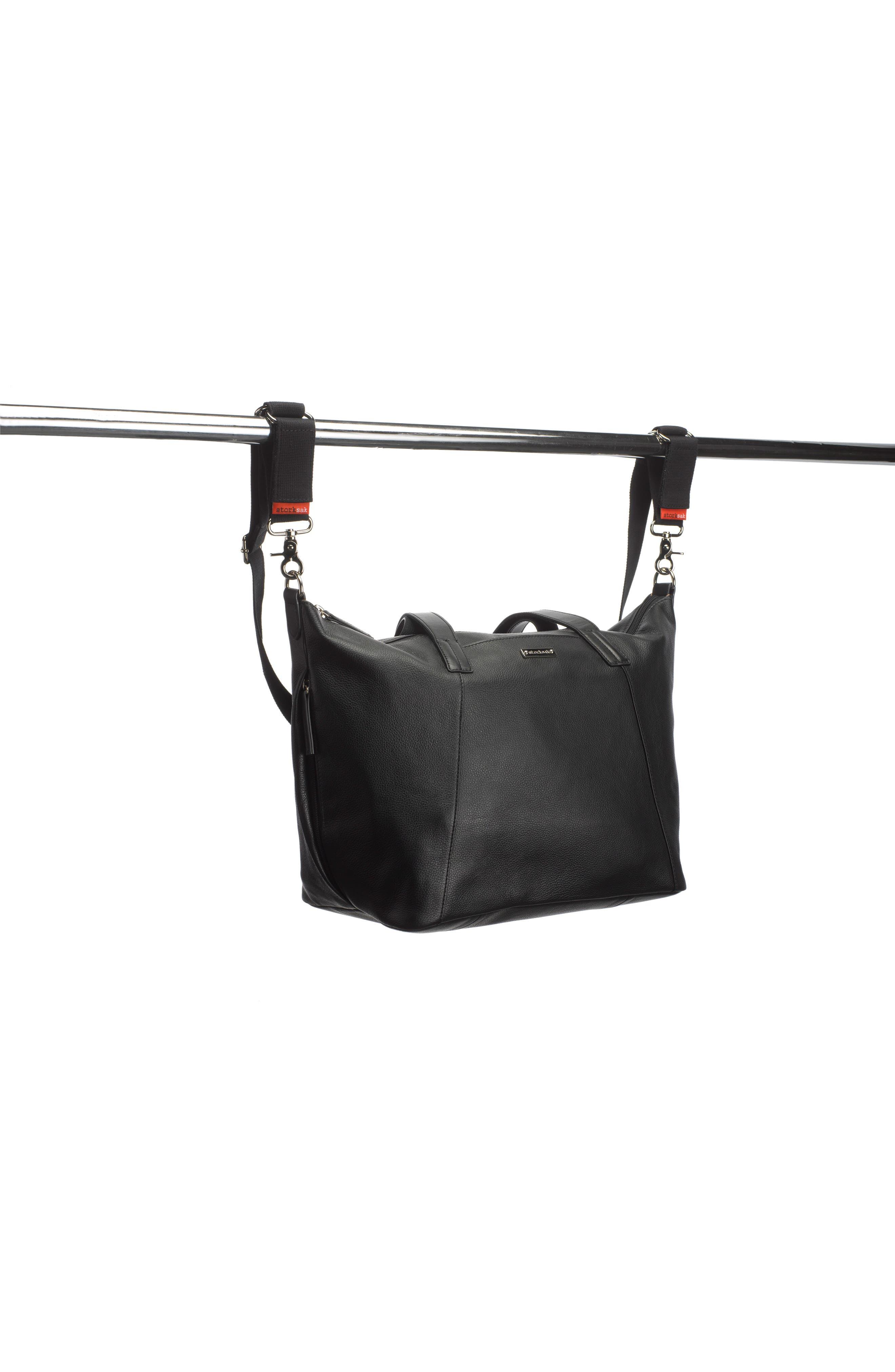 NOA Leather Diaper Bag,                             Alternate thumbnail 6, color,                             Black