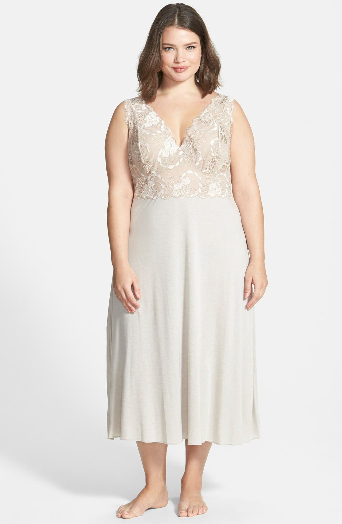 Alternate Image 1 Selected - Natori 'Zen Floral' Nightgown (Plus Size)