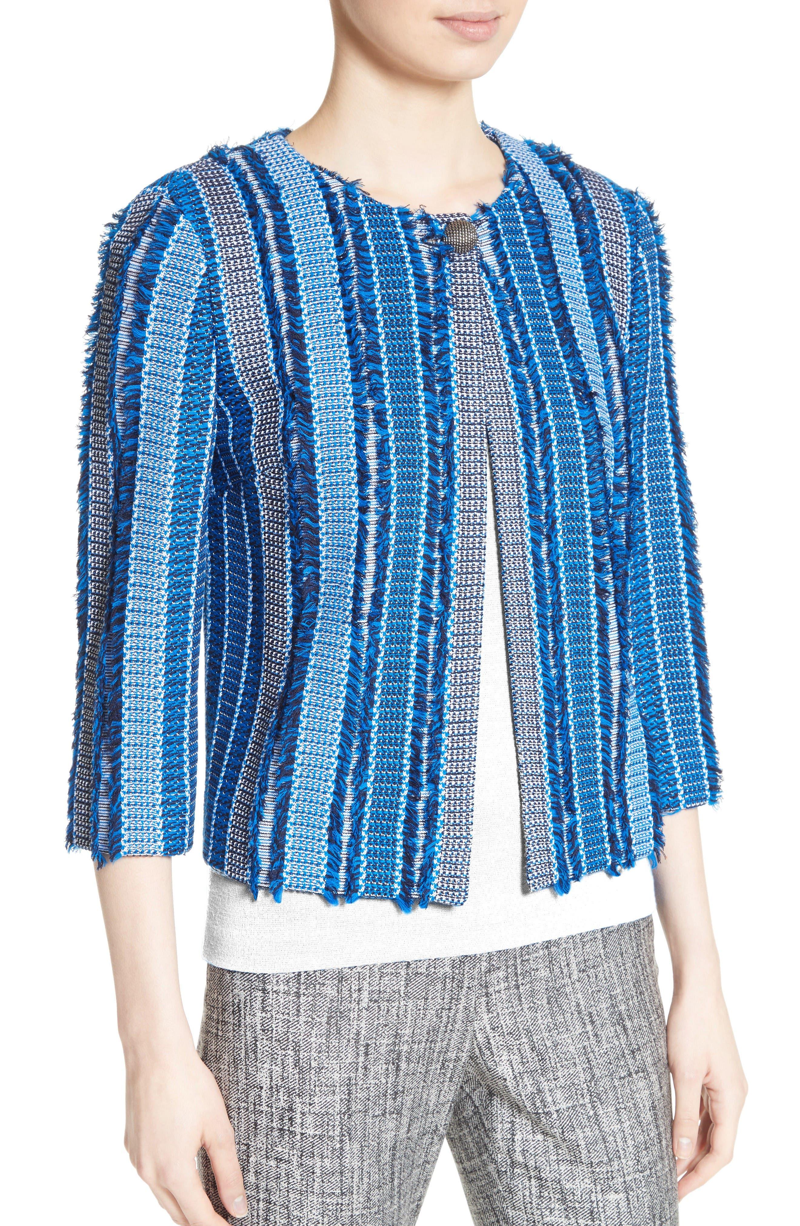 Damik Fil Coupé Knit Jacket,                             Alternate thumbnail 4, color,                             Jaya Blue Multi
