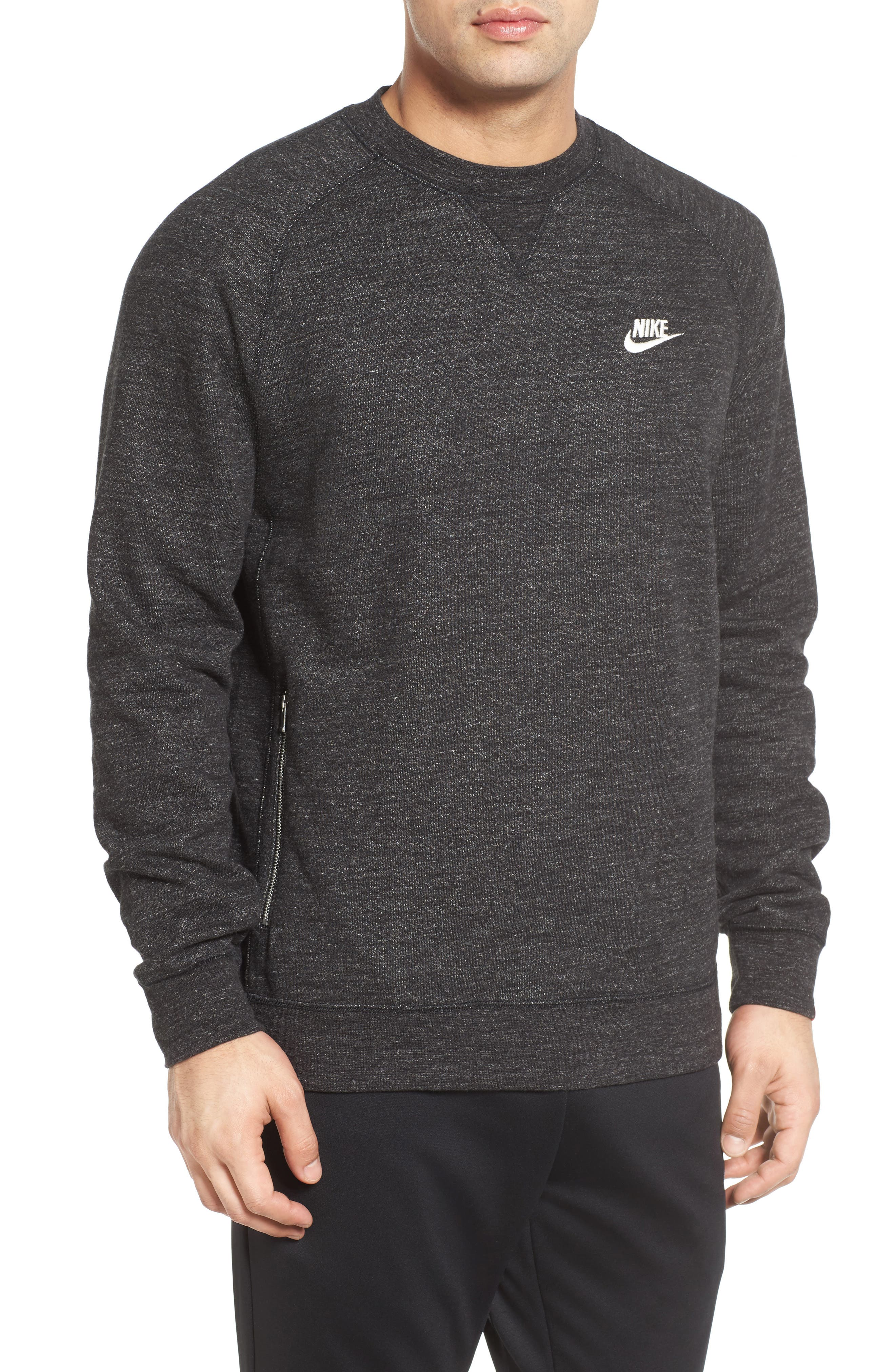 Legacy Raglan Crewneck Sweatshirt,                         Main,                         color, Black Heather/ Sail
